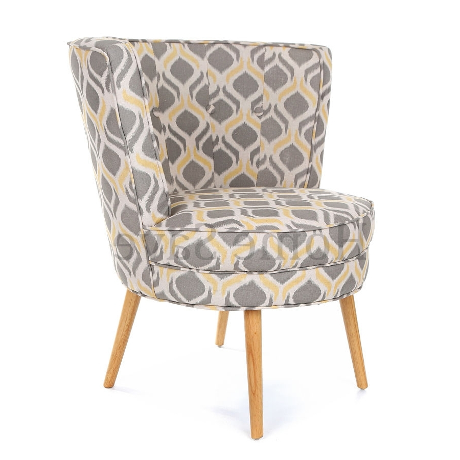 Most Up To Date Milly Grey Print Barrel Chair Armchair Accent Chair Home Furniture Throughout Sofa Arm Chairs (View 9 of 20)