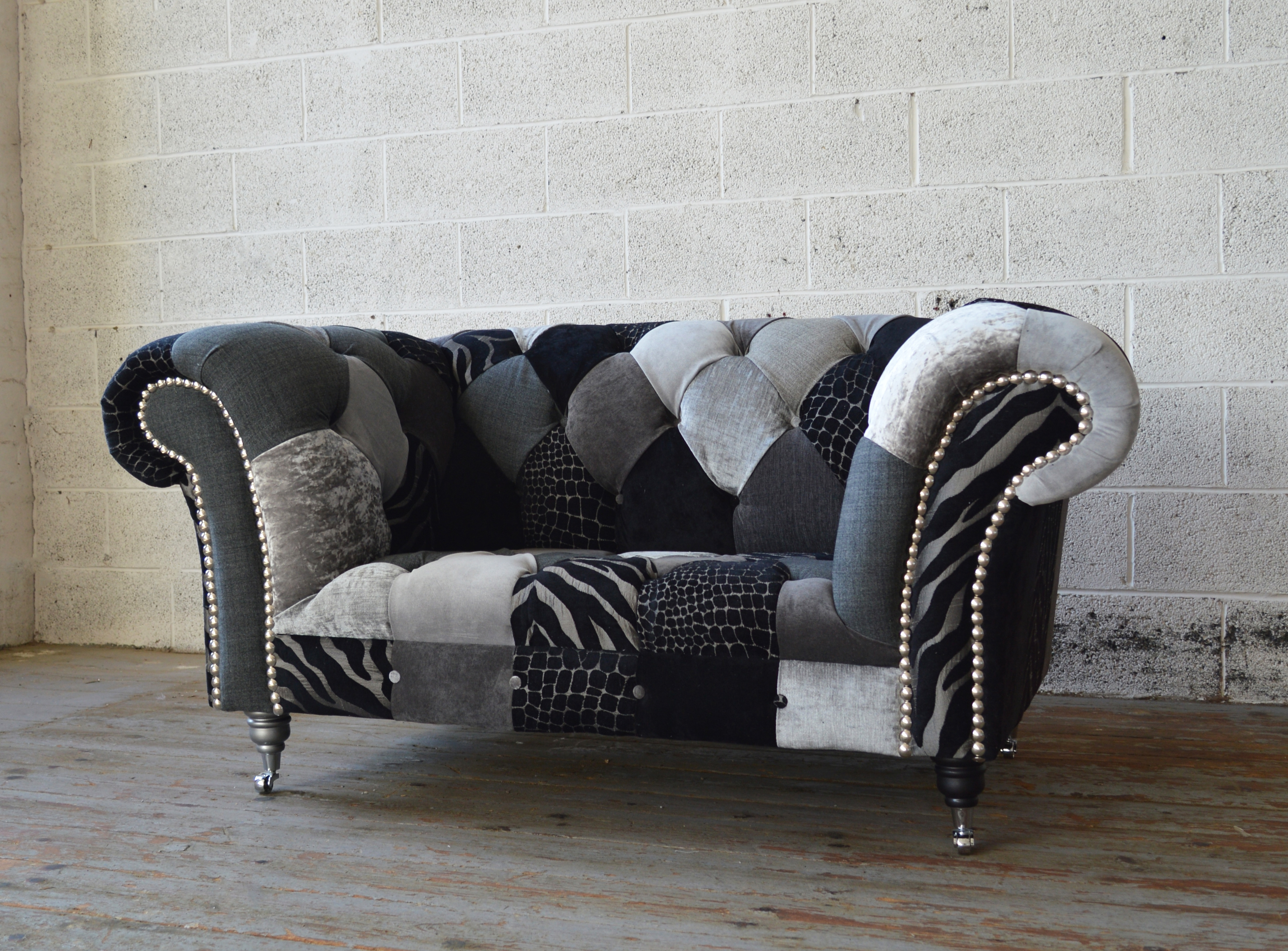 Most Up To Date Monochrome Walton Patchwork Chesterfield Snuggle Chair (View 2 of 20)