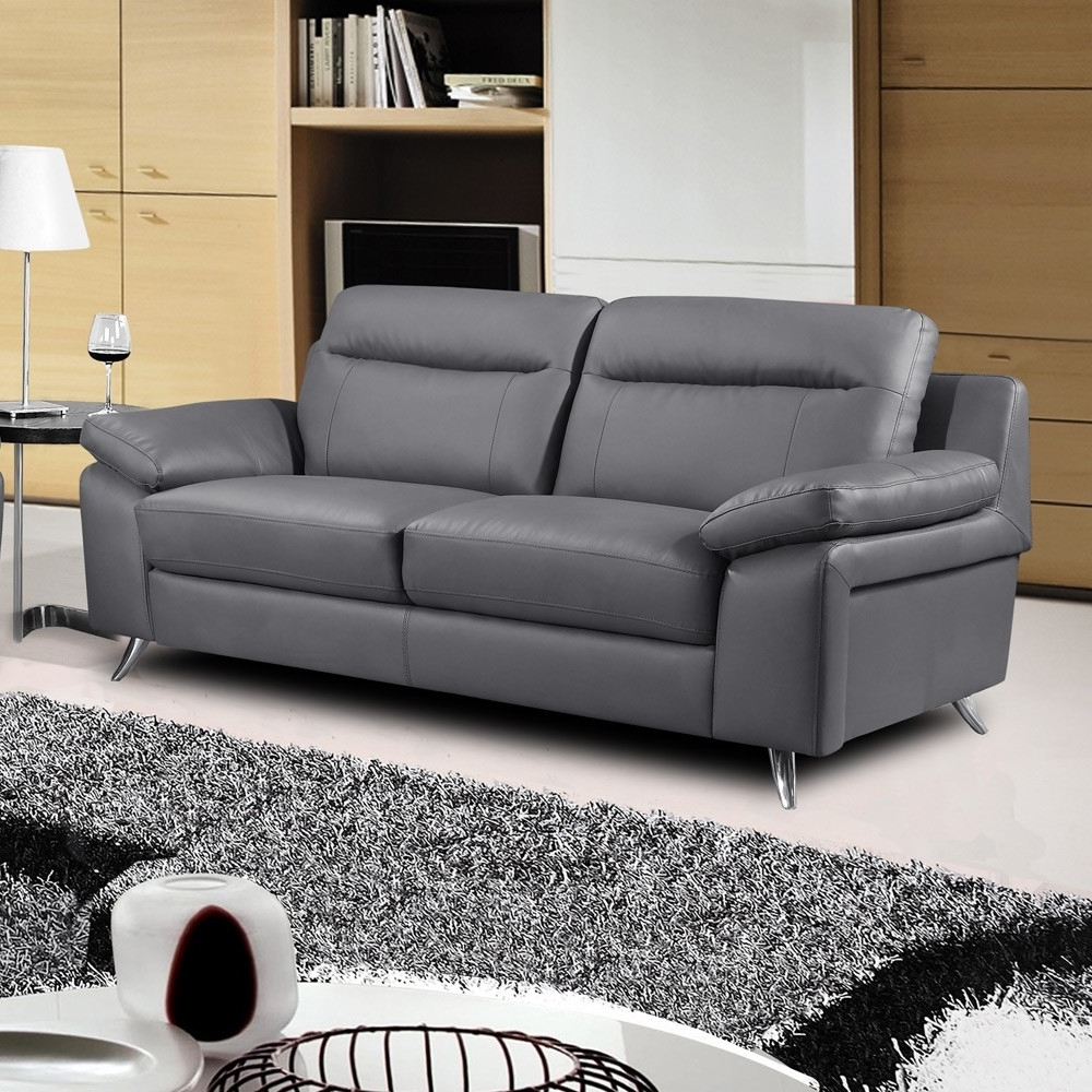 Most Up To Date Nuvola Italian Inspired Leather Dark Grey Sofa Collection With 3 Seater Leather Sofas (View 10 of 20)