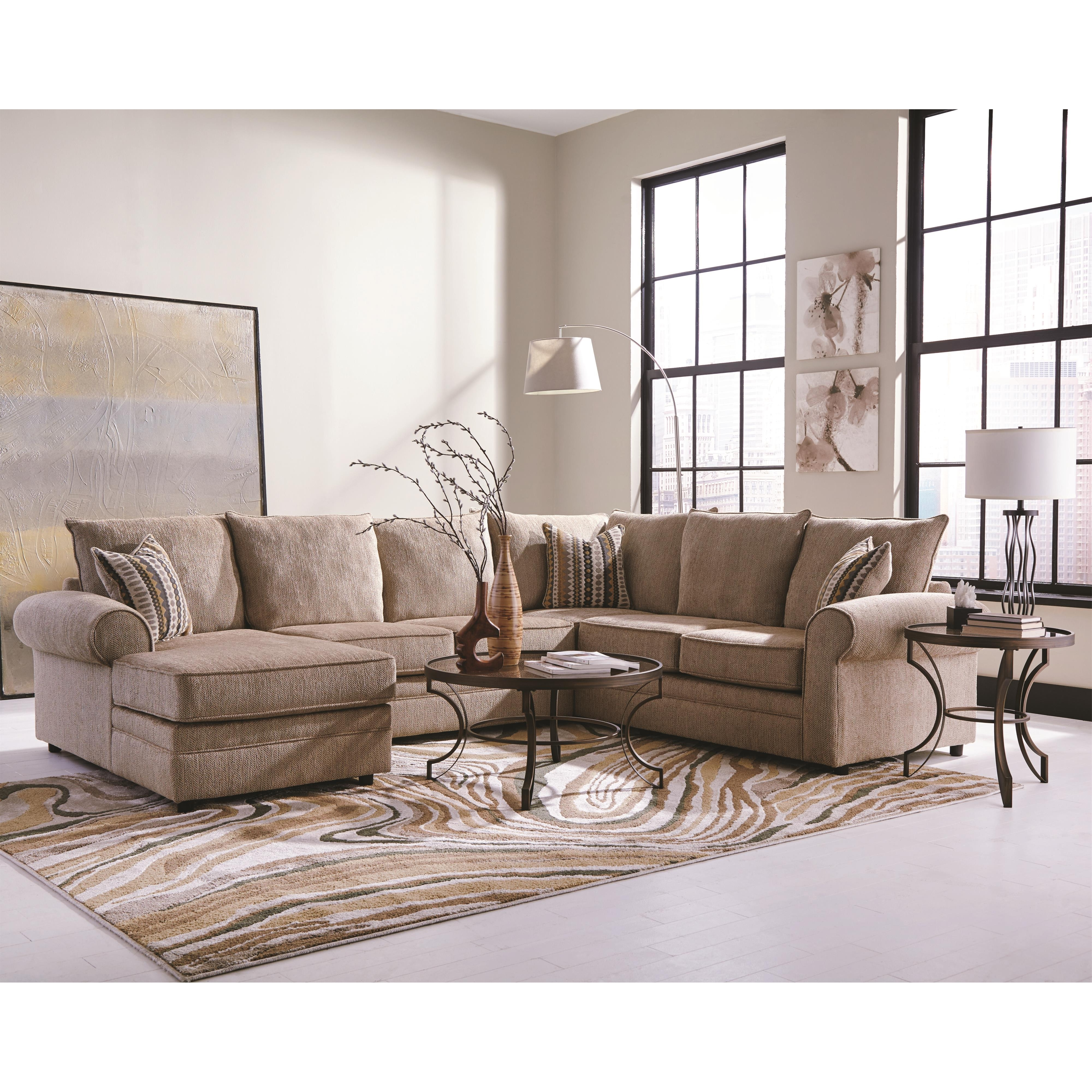 Most Up To Date Philadelphia Sectional Sofas Inside Fairhaven Cream Colored U Shaped Sectional With Chaise (View 8 of 20)