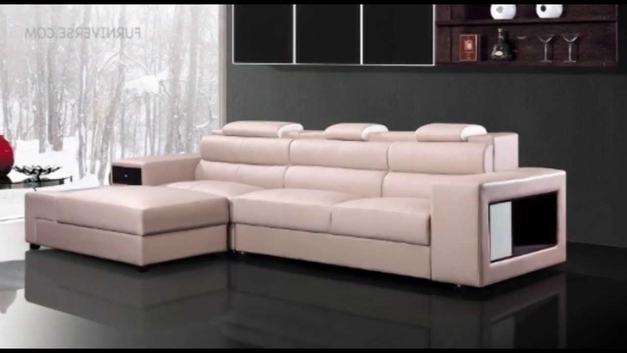 Most Up To Date Polaris Mini Contemporary Light Grey Leather Sectional Sofa – Youtube Intended For Mini Sectional Sofas (View 12 of 20)