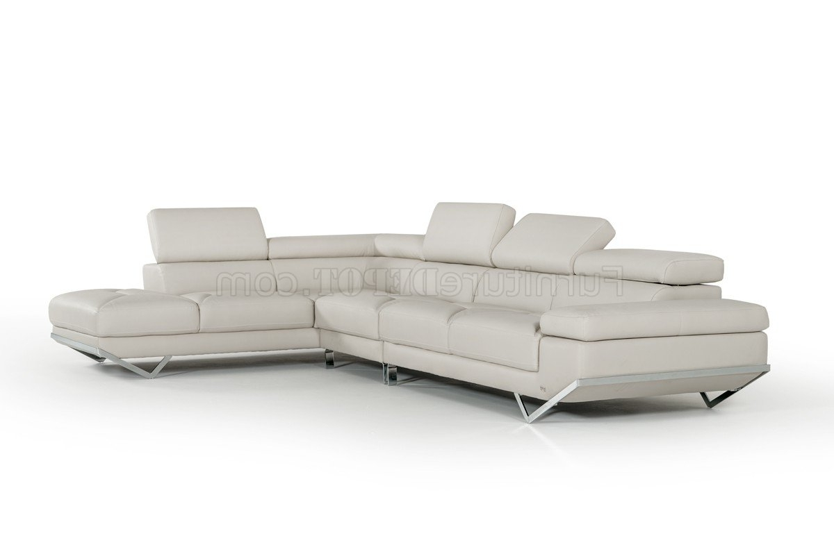 Most Up To Date Quebec Sectional Sofas Throughout Sectional Sofa 8488A In Light Grey Eco Leathervig (View 9 of 20)