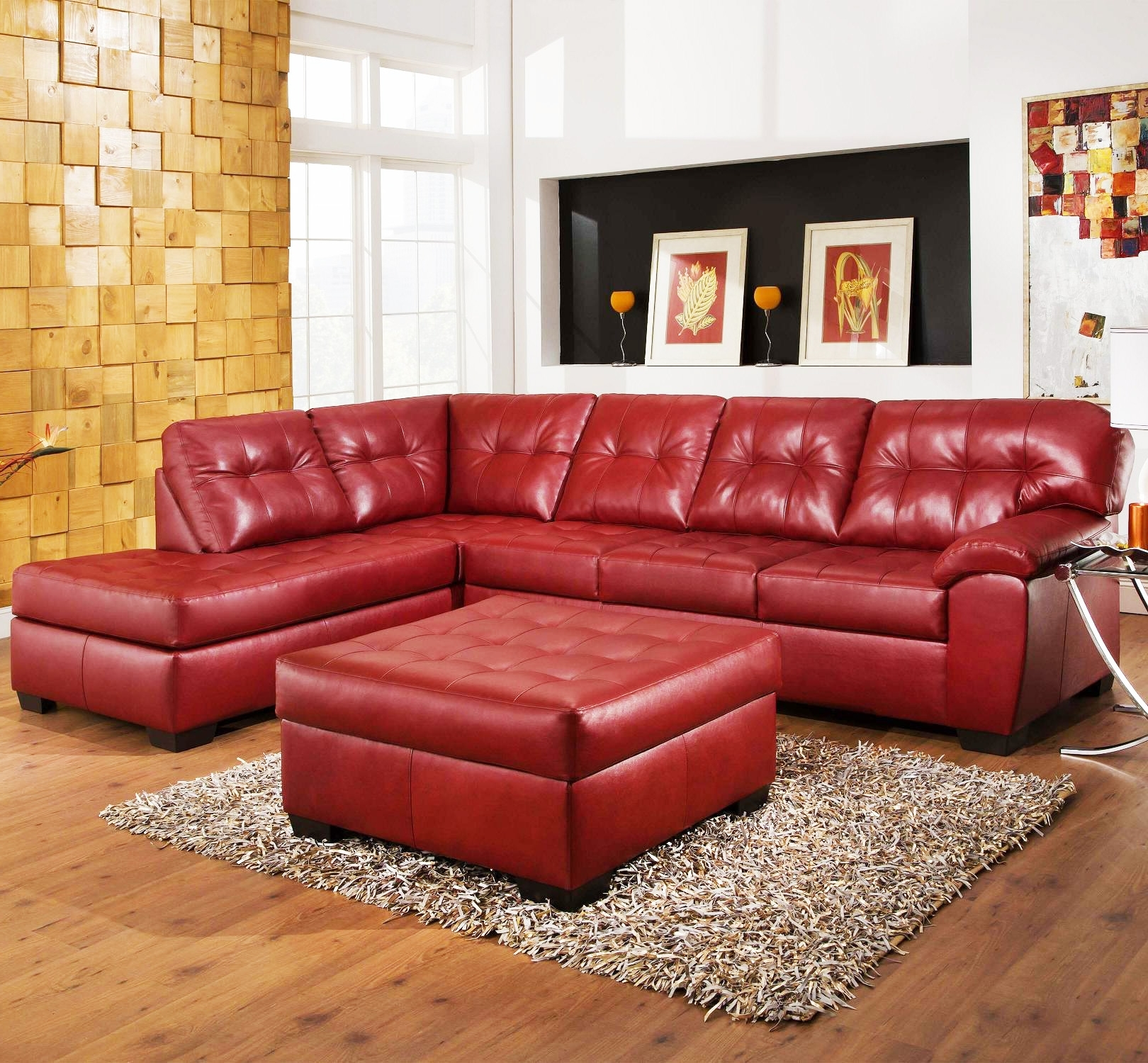 Most Up To Date Red Leather Sofas With Regard To Sofas : Sectional Couch Small Sectional Couch Red Sectional Couch (View 7 of 20)