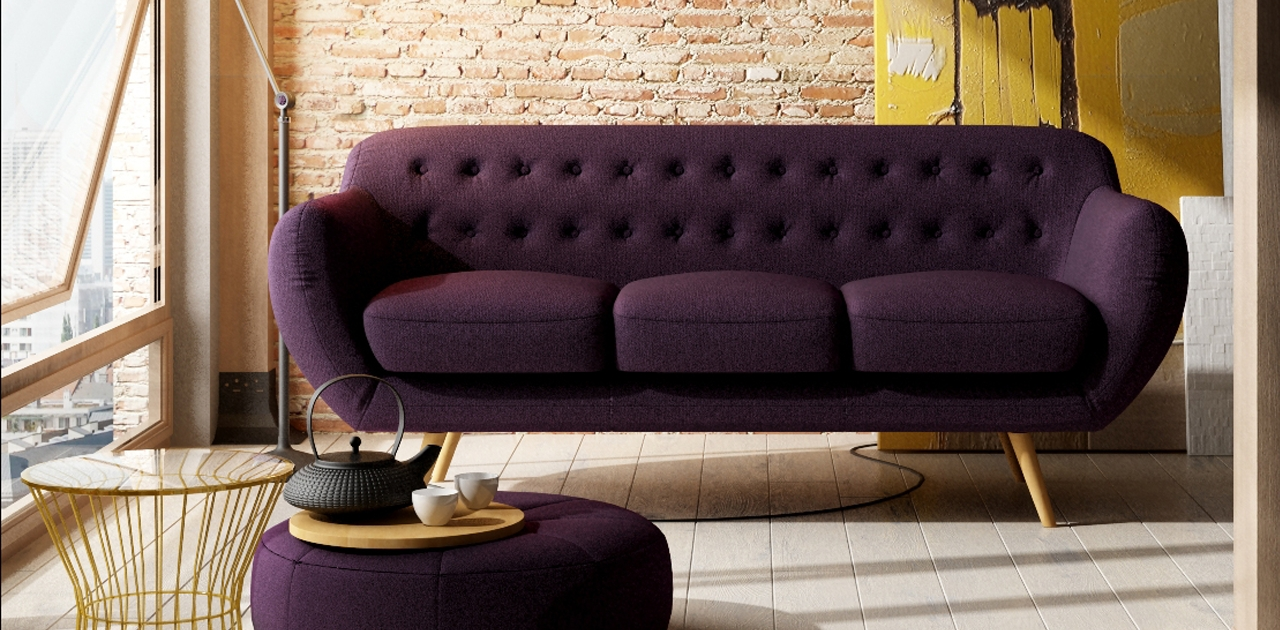 Most Up To Date Retro Sofas Pertaining To Anatol 3 Seater Retro Sofa – Fabric Sofas (View 9 of 20)
