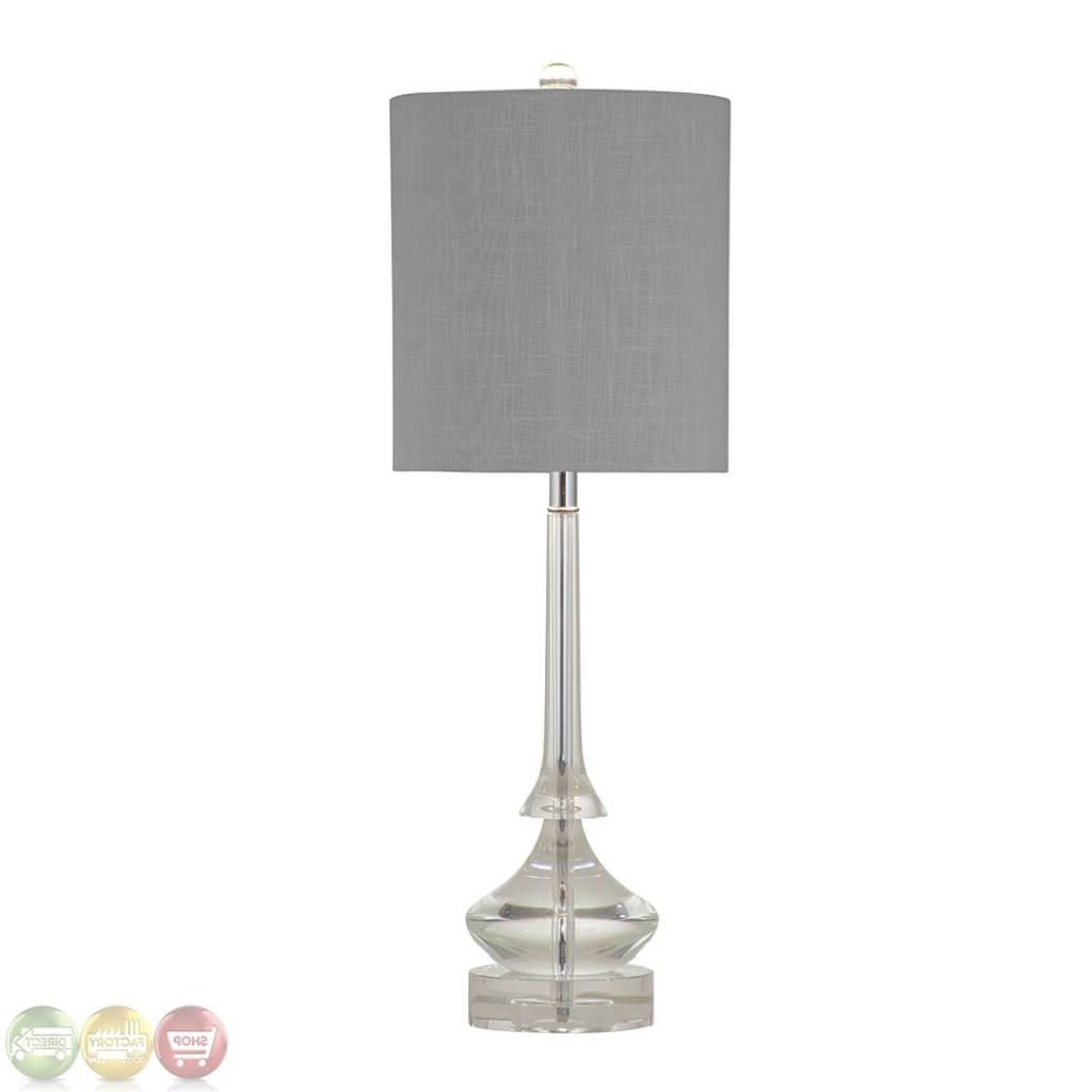 Most Up To Date Small Chandelier Table Lamps For Lighting: Modern Crystal Column Table Lamp Featuring Grey Fabric (View 9 of 20)