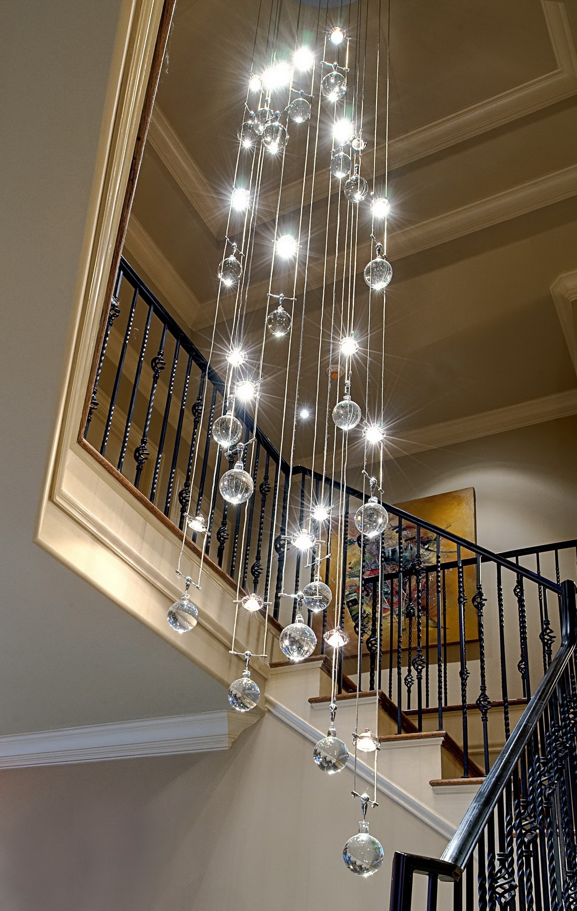 Most Up To Date Sparkly Chandeliers Within Interior: Modern Chandeliers For High Ceiling With Sparkly Crystals (View 12 of 20)