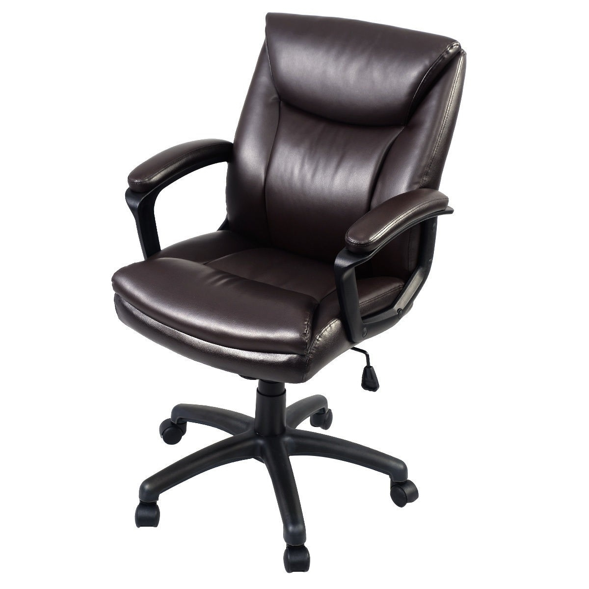 Most Up To Date Tan Brown Mid Back Executive Office Chairs Regarding Ergonomic Pu Leather Mid Back Executive Computer Desk Task Office (View 6 of 20)