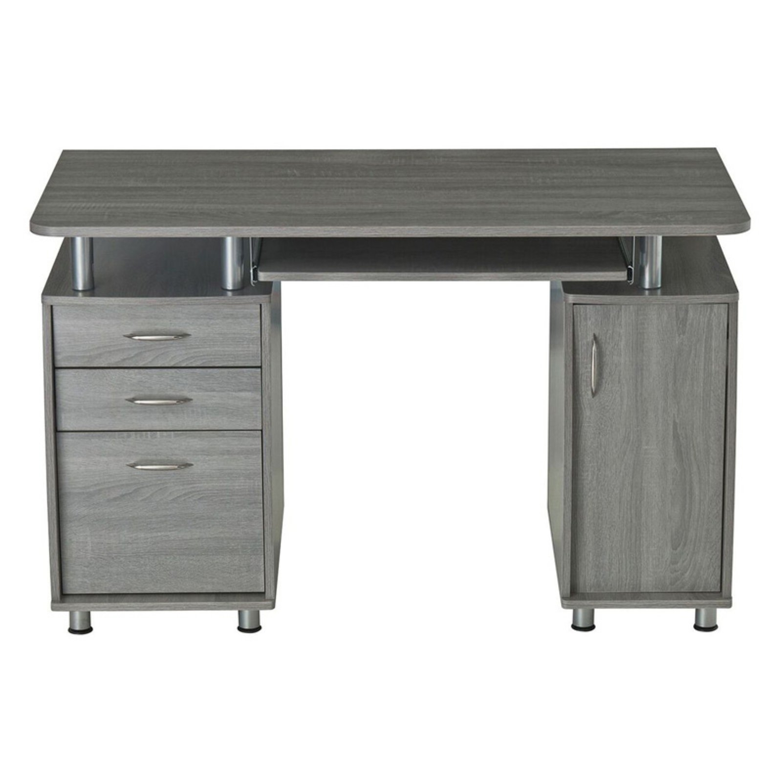 Most Up To Date Techni Mobili Complete Workstation Computer Desk With Storage Inside Grey Computer Desks (View 15 of 20)