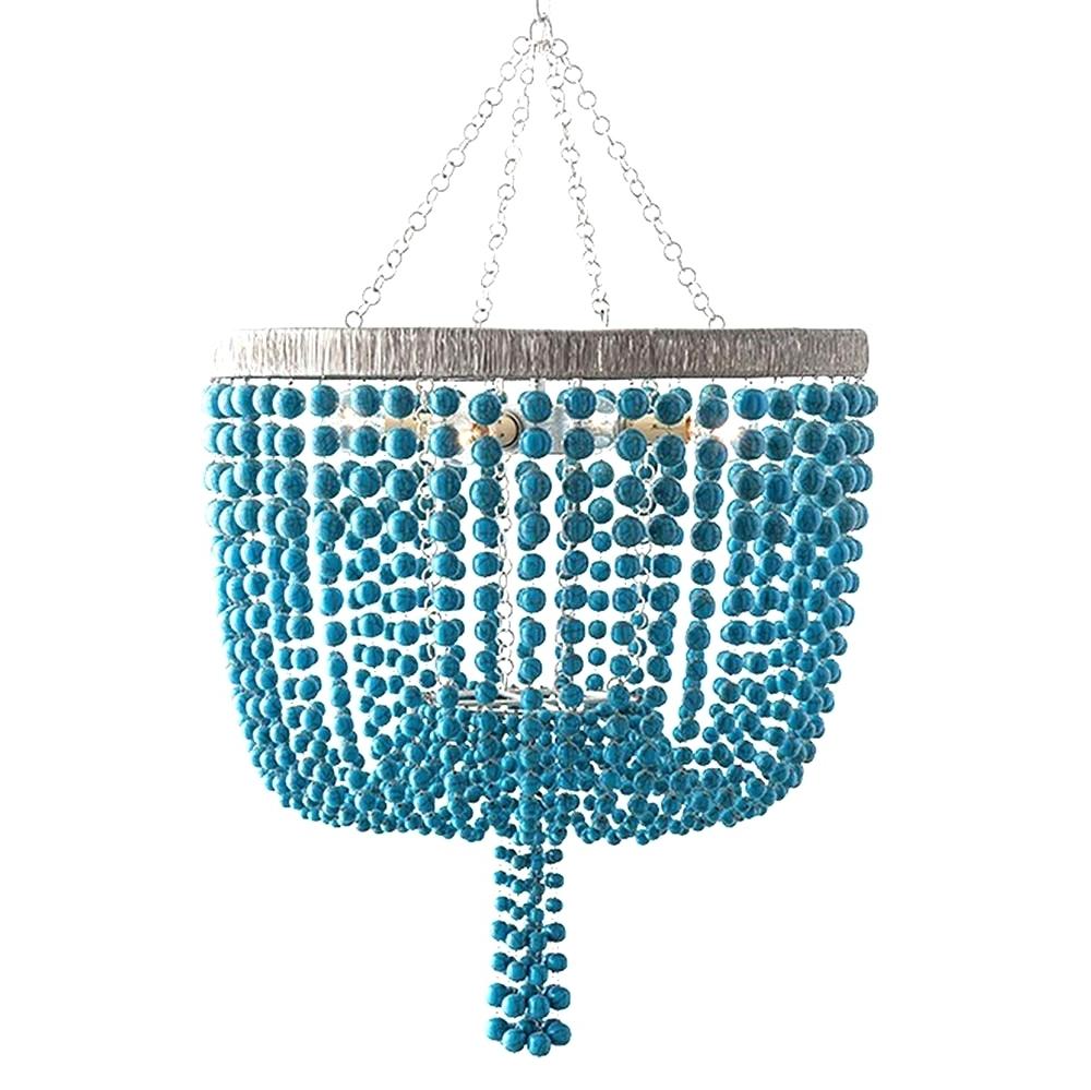 Most Up To Date Turquoise Beaded Chandelier Light Fixtures Regarding Chandeliers Design : Awesome Turquoise Chandelier Light Fixture With (Gallery 5 of 20)