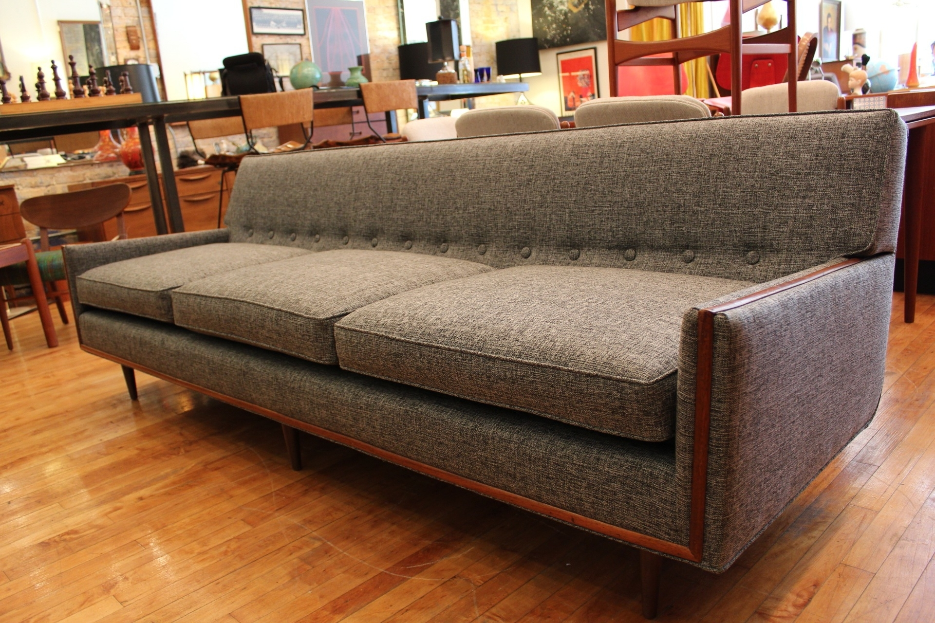 Most Up To Date Vintage Sectional Sofas Intended For Unique Grey Vintage Mid Century Modern Sofa Furniture (View 8 of 20)