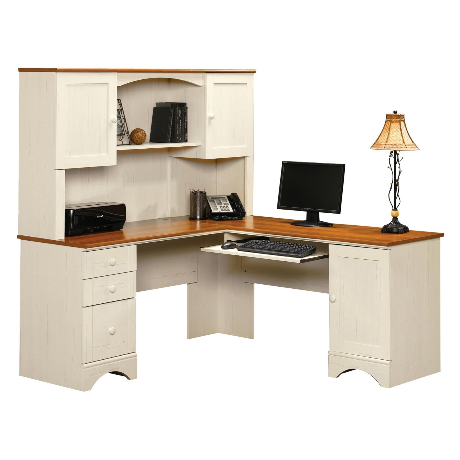 Most Up To Date White Computer Desks Regarding Sauder Harbor View Corner Computer Desk With Hutch – Antiqued (View 14 of 20)