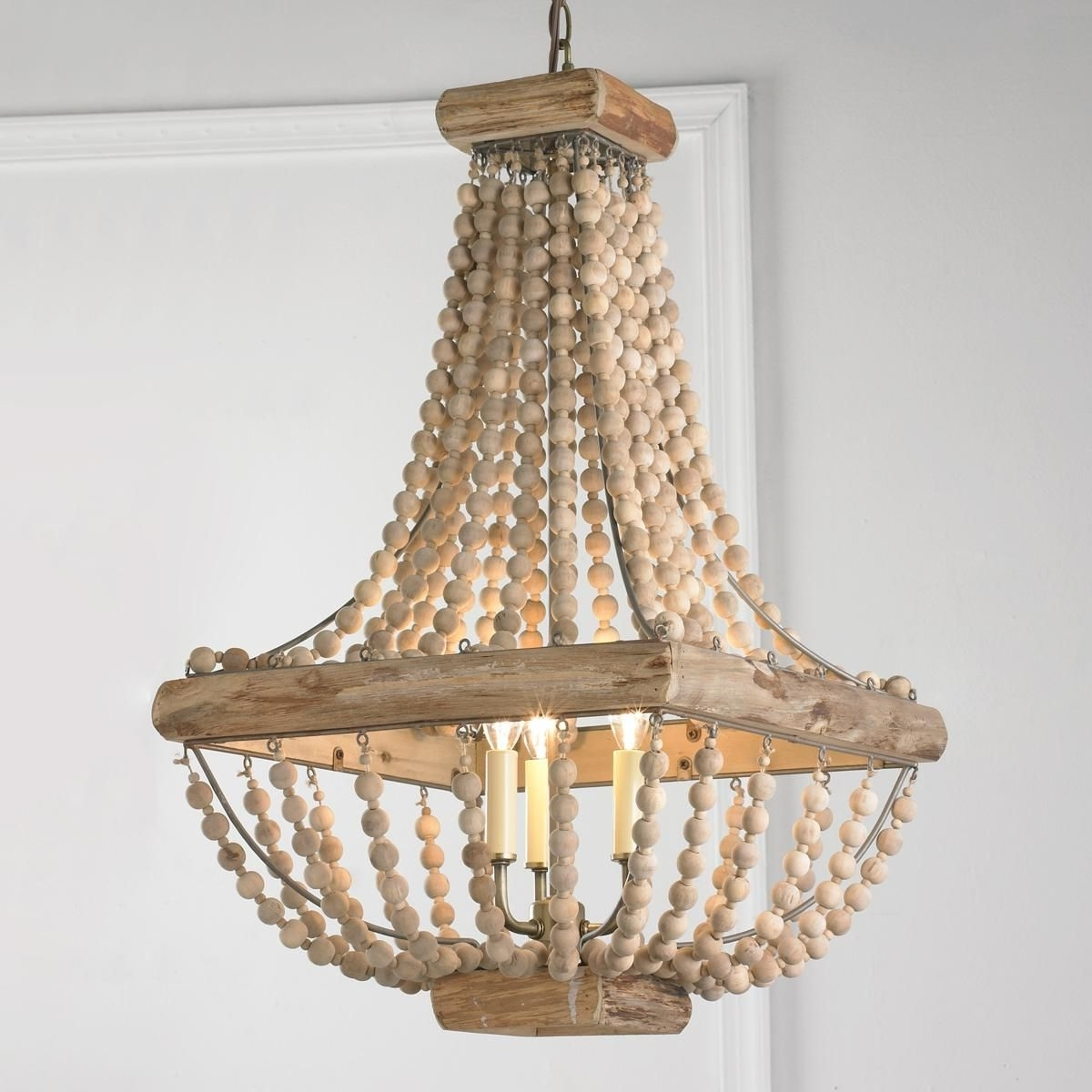 Most Up To Date Wood Bead Chandelier From Romantic Bedrooms To Garden Solarium Intended For Turquoise Beads Six Light Chandeliers (View 15 of 20)