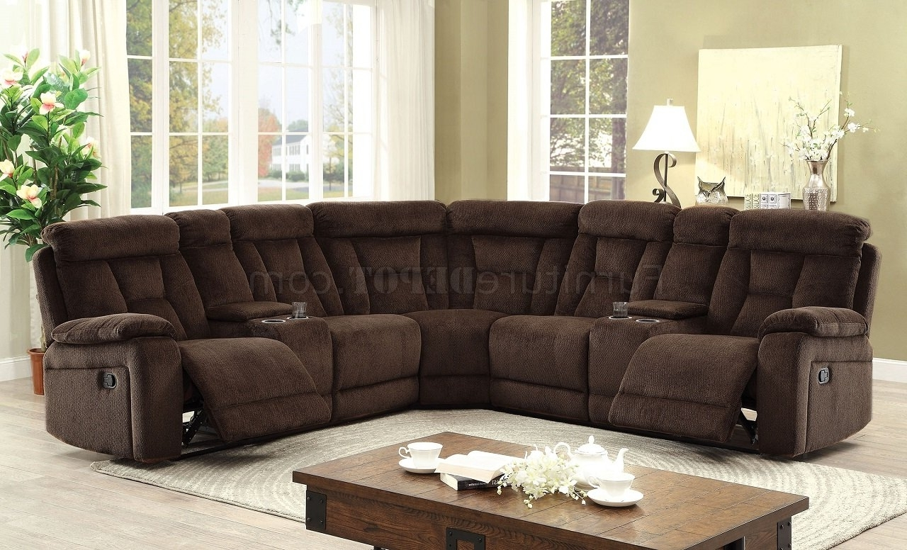 Motion Sectional Sofas Inside 2018 Maybell Motion Sectional Sofa Cm6773br In Brown Chenille Fabric (View 9 of 20)