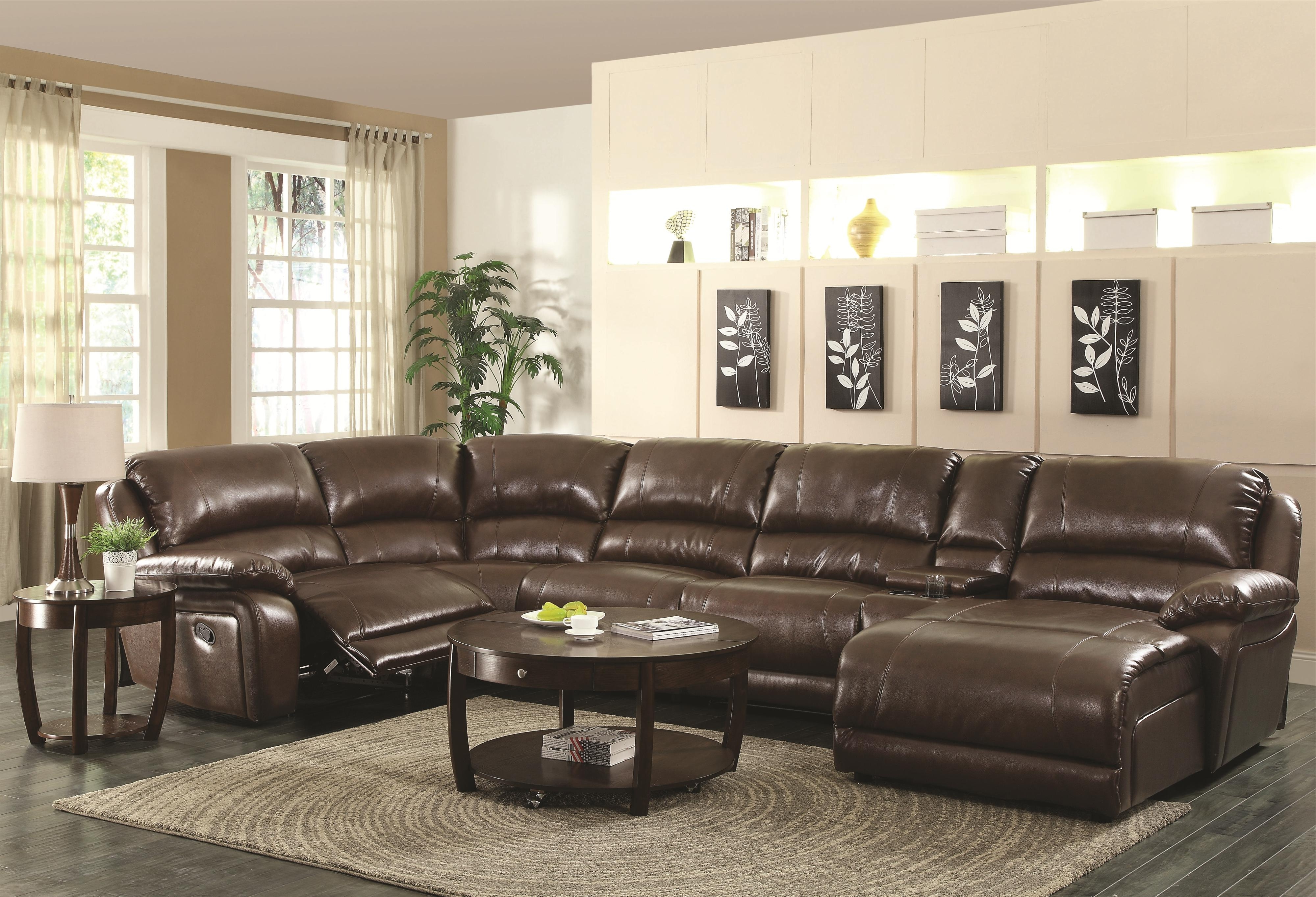Motion Sectional Sofas Inside Current Coaster Mackenzie Chestnut 600357 6 Piece Reclining Sectional Sofa (View 13 of 20)