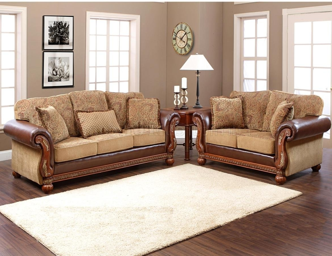 Multi Tone Fabric Classic Sofa & Loveseat Set W/options In Most Recent Classic Sofas (View 13 of 20)