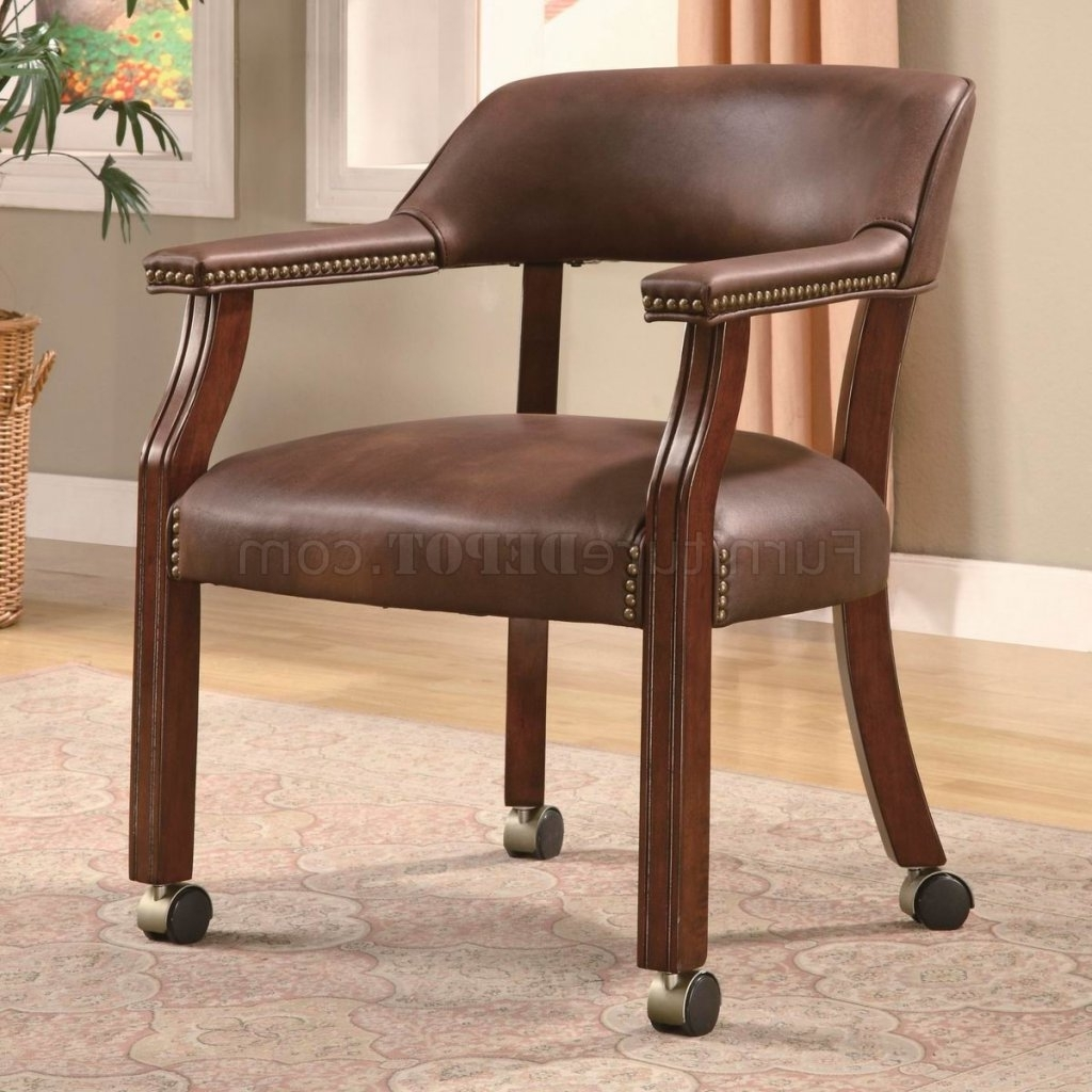 Nailhead Executive Office Chairs Within Popular Brown Vinyl Traditional Office Chair W/casters & Nailhead Trim (View 13 of 20)