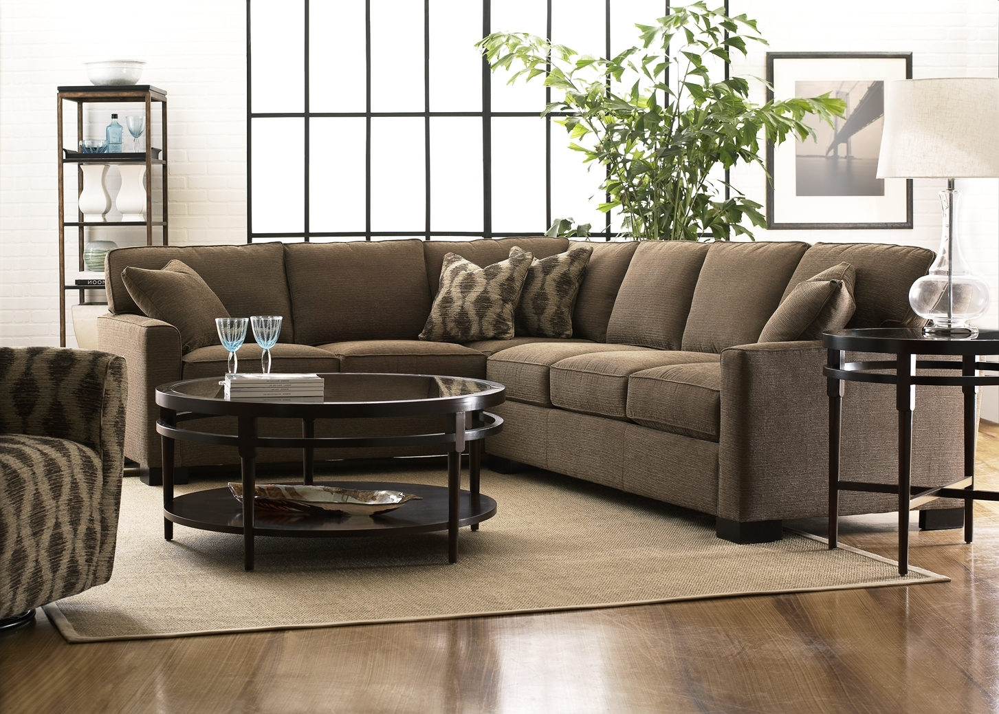 Narrow Spaces Sectional Sofas In Most Recently Released L Brown Fabric Sofa With Back Addedround Black Table With (View 15 of 20)