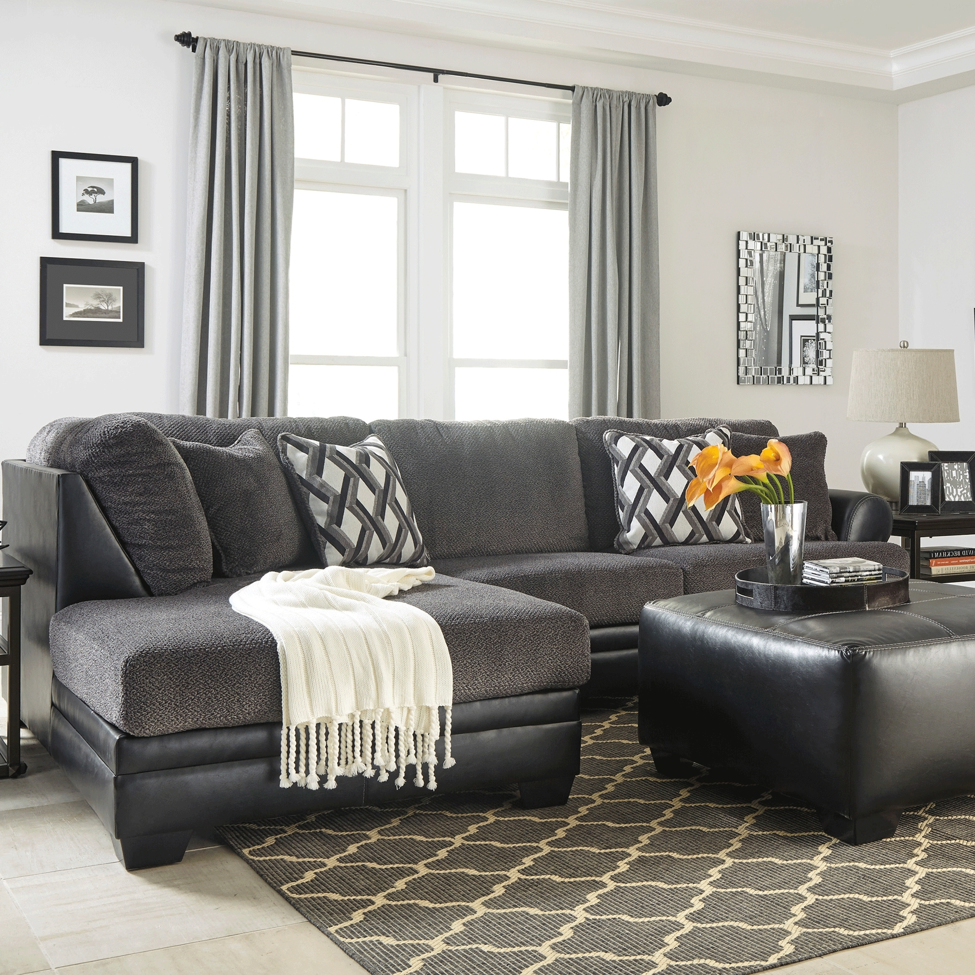 Nashua Nh Sectional Sofas With Most Up To Date Kumasi Smoke 2 Piece  Sectional U2013 Bernie