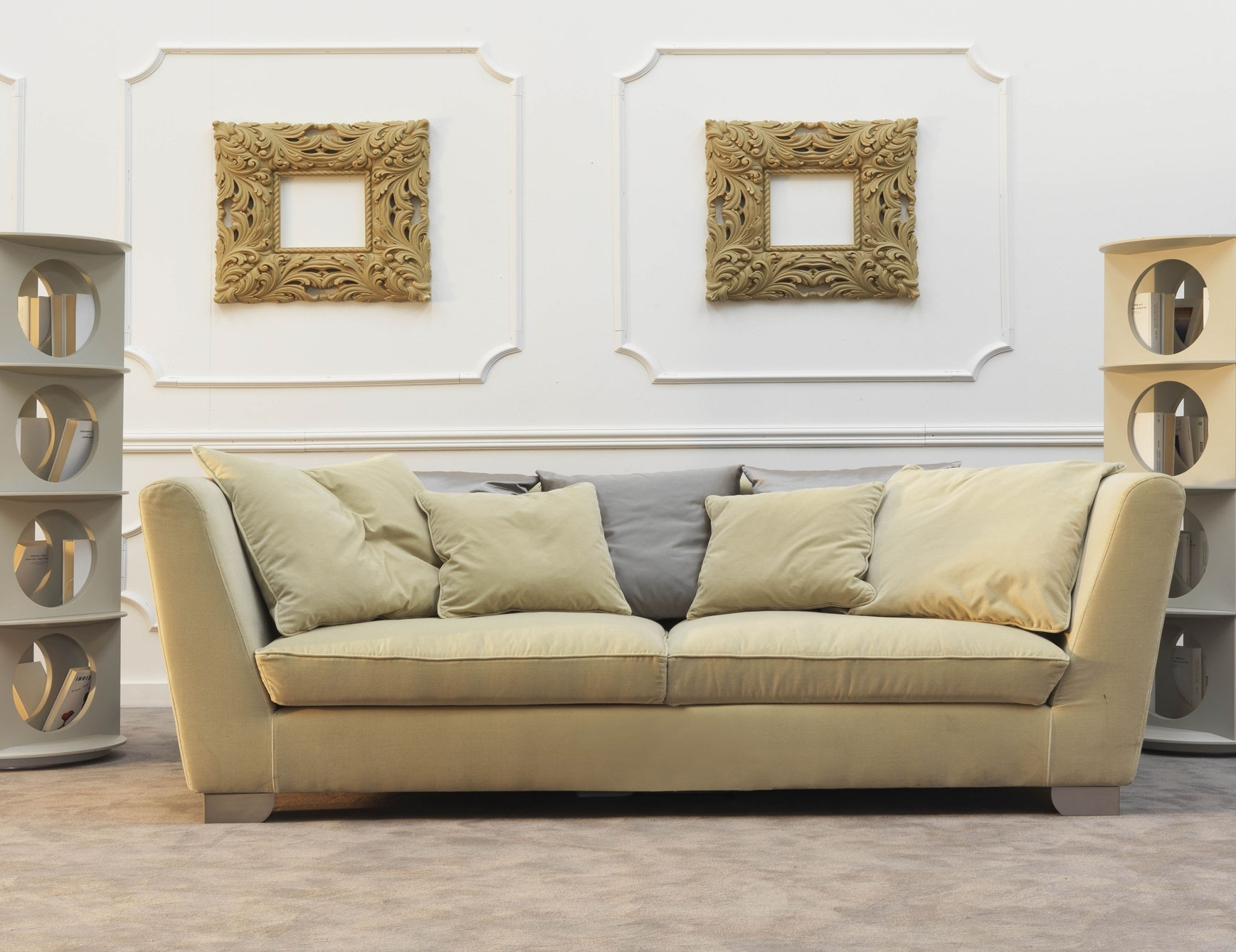 Nella Vetrina Douillet Dou02 Italian Designer Cream Fabric Sofa Within Well Liked Sofas And Chairs (View 6 of 20)