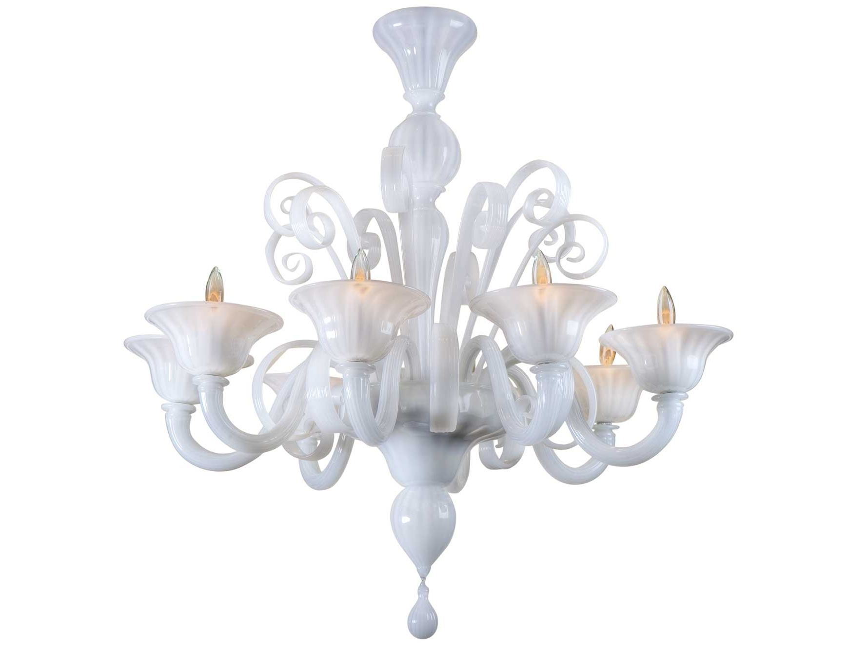 Nella Vetrina White Murano 8 Murano Chandelier In White Glass With Best And Newest White Chandeliers (View 18 of 20)
