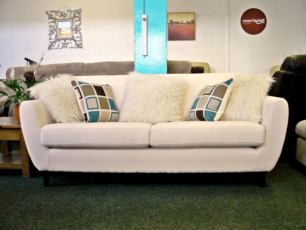 New: Charlie Cream Fabric 3 Seater Retro Style Sofa With Contrast Within  Fashionable Cheap Retro