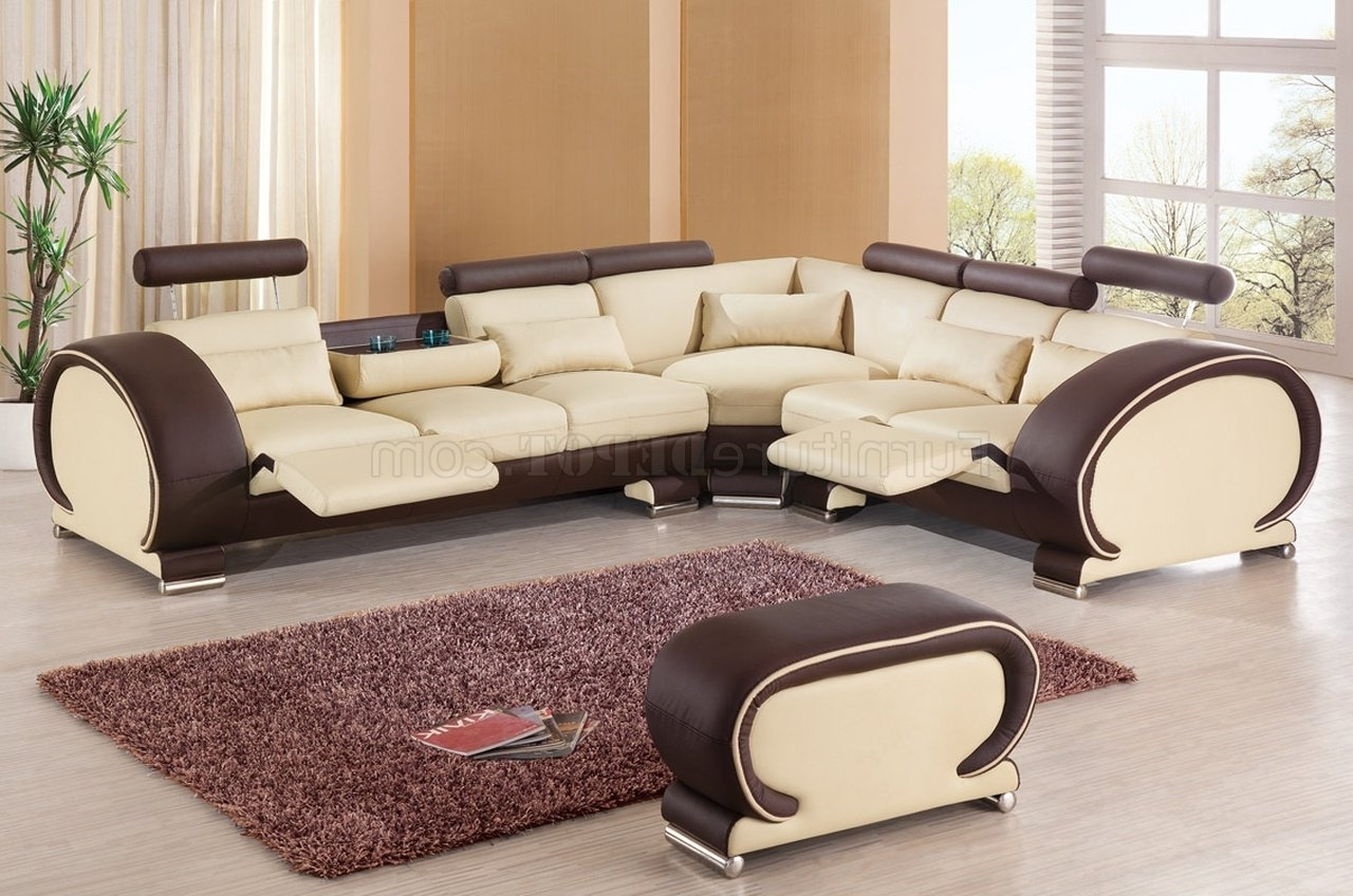 New Orleans Sectional Sofas In Popular Sectional Sofaesf In Beige & Brown Leather (View 10 of 20)