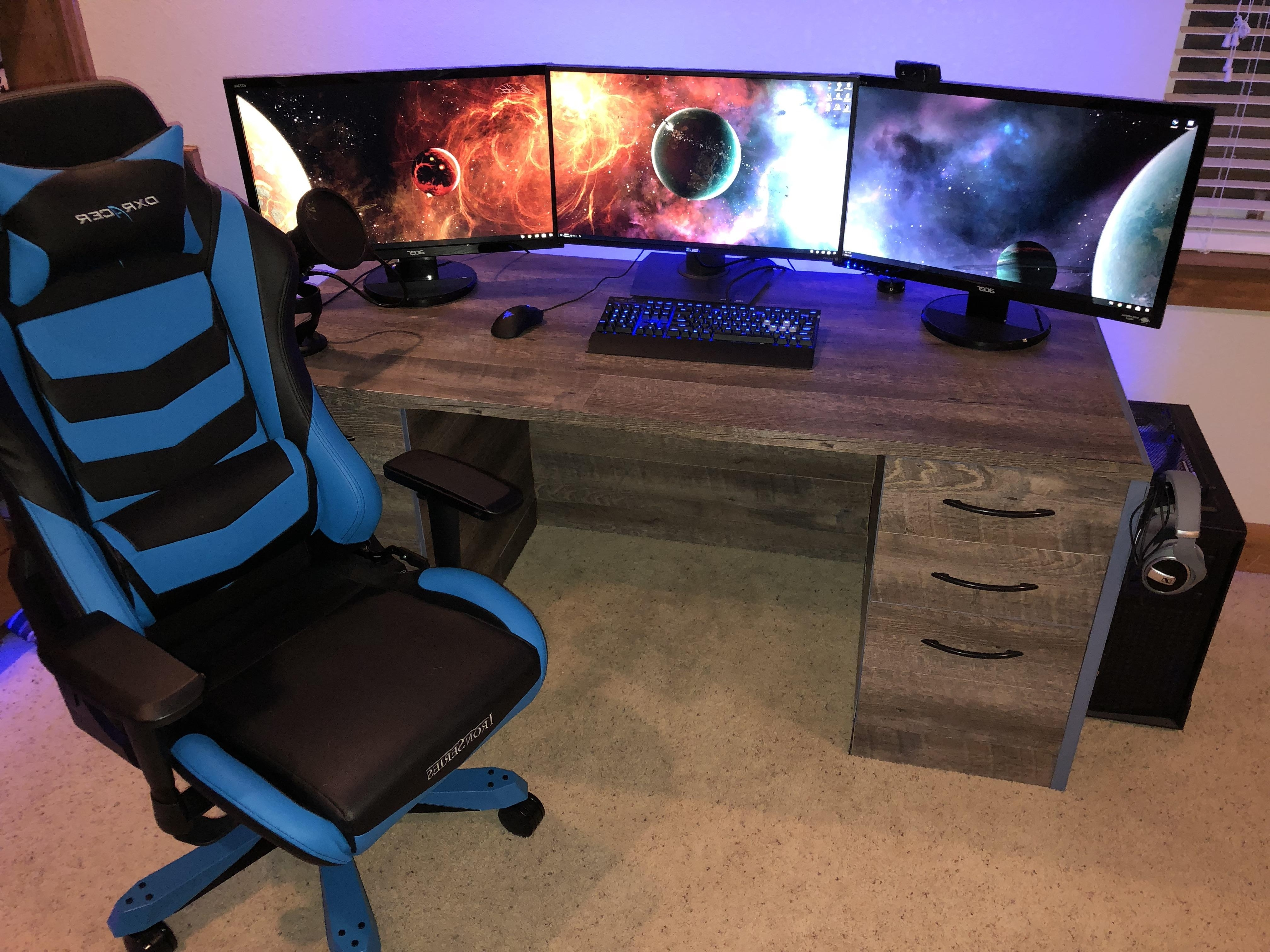 New Personalized Desk To Go With My 3 Monitor Blue Accent Setup Throughout Favorite Computer Desks For 3 Monitors (View 17 of 20)
