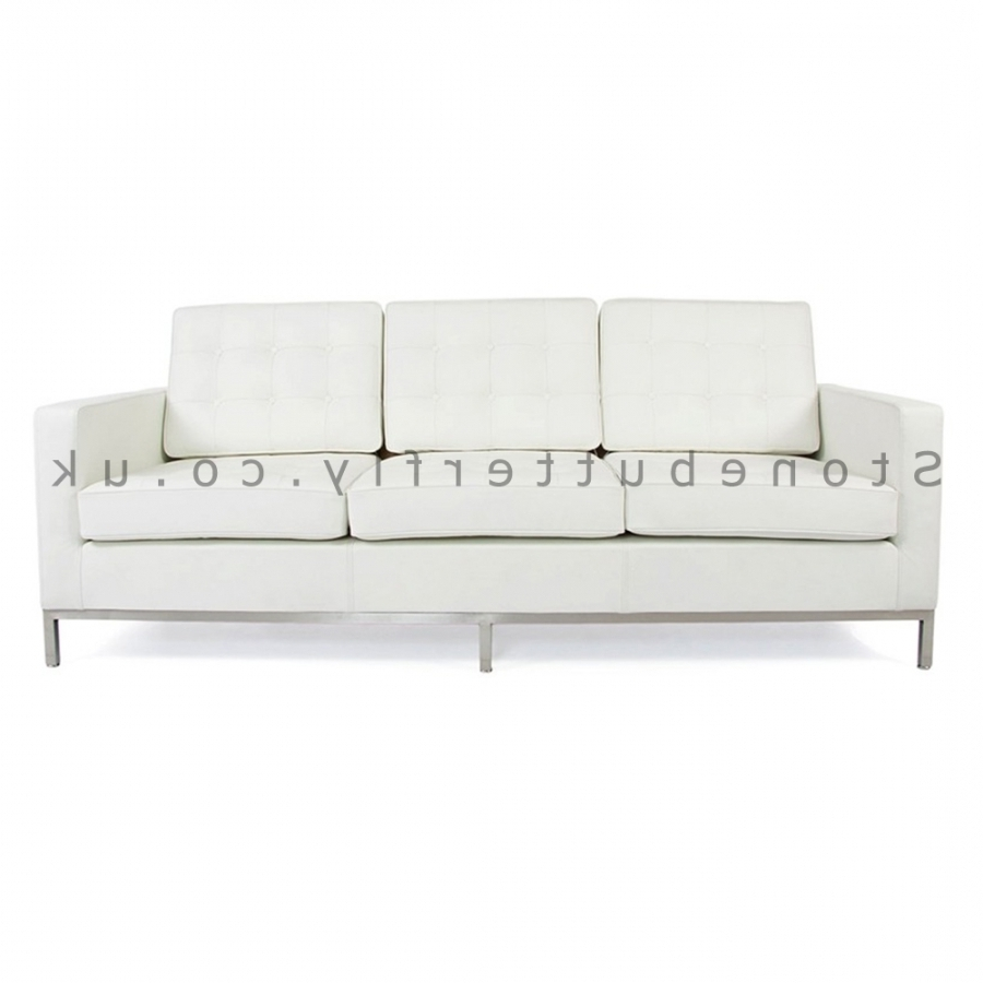 Newest 3 Seat Sofa, Florence Knoll Inspired – White Leather Pertaining To Florence Knoll 3 Seater Sofas (View 15 of 20)