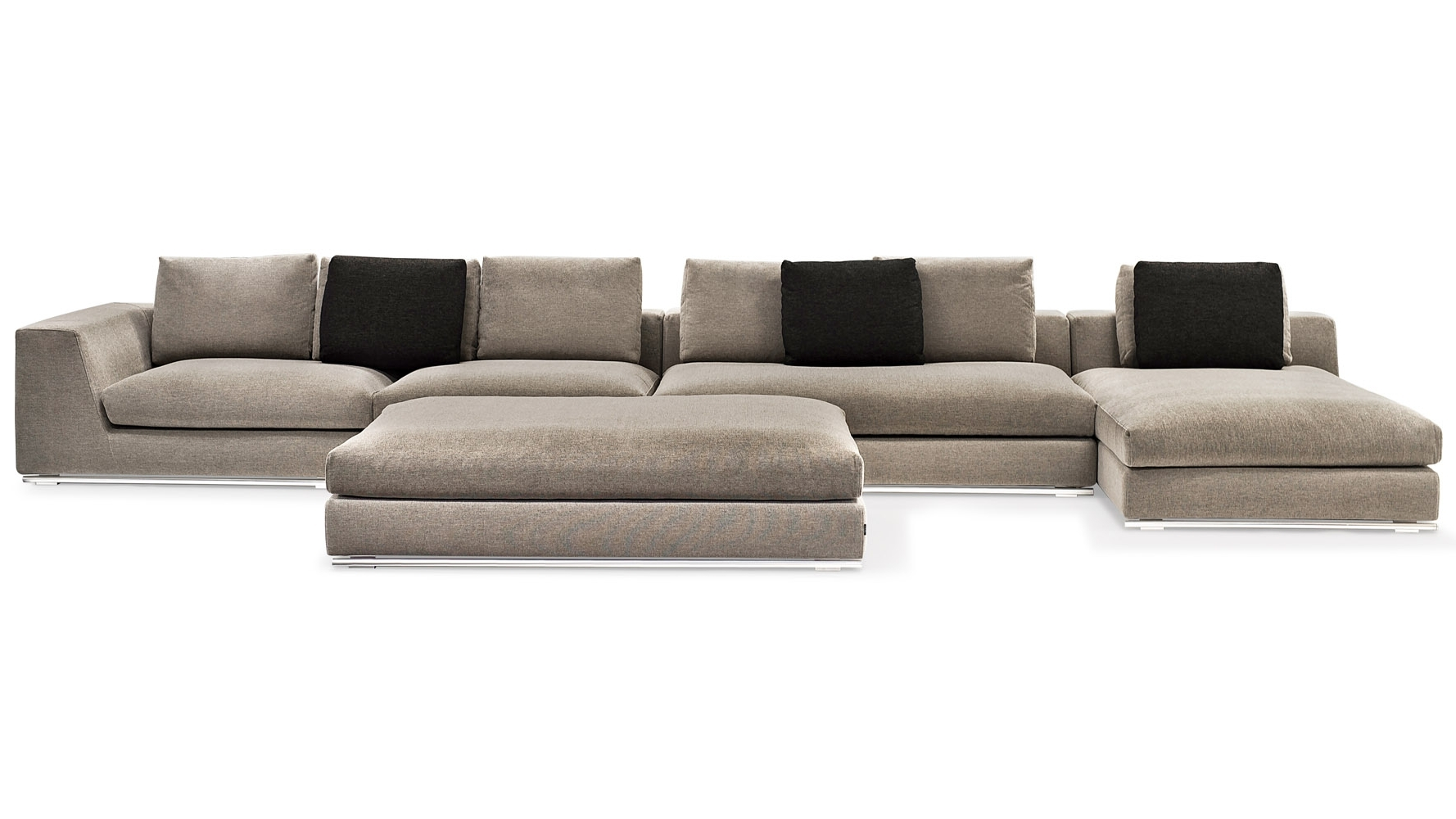 Newest Armless Sectional Sofas Throughout Comodo Sectional Sofa With Ottoman – Grey (View 13 of 20)