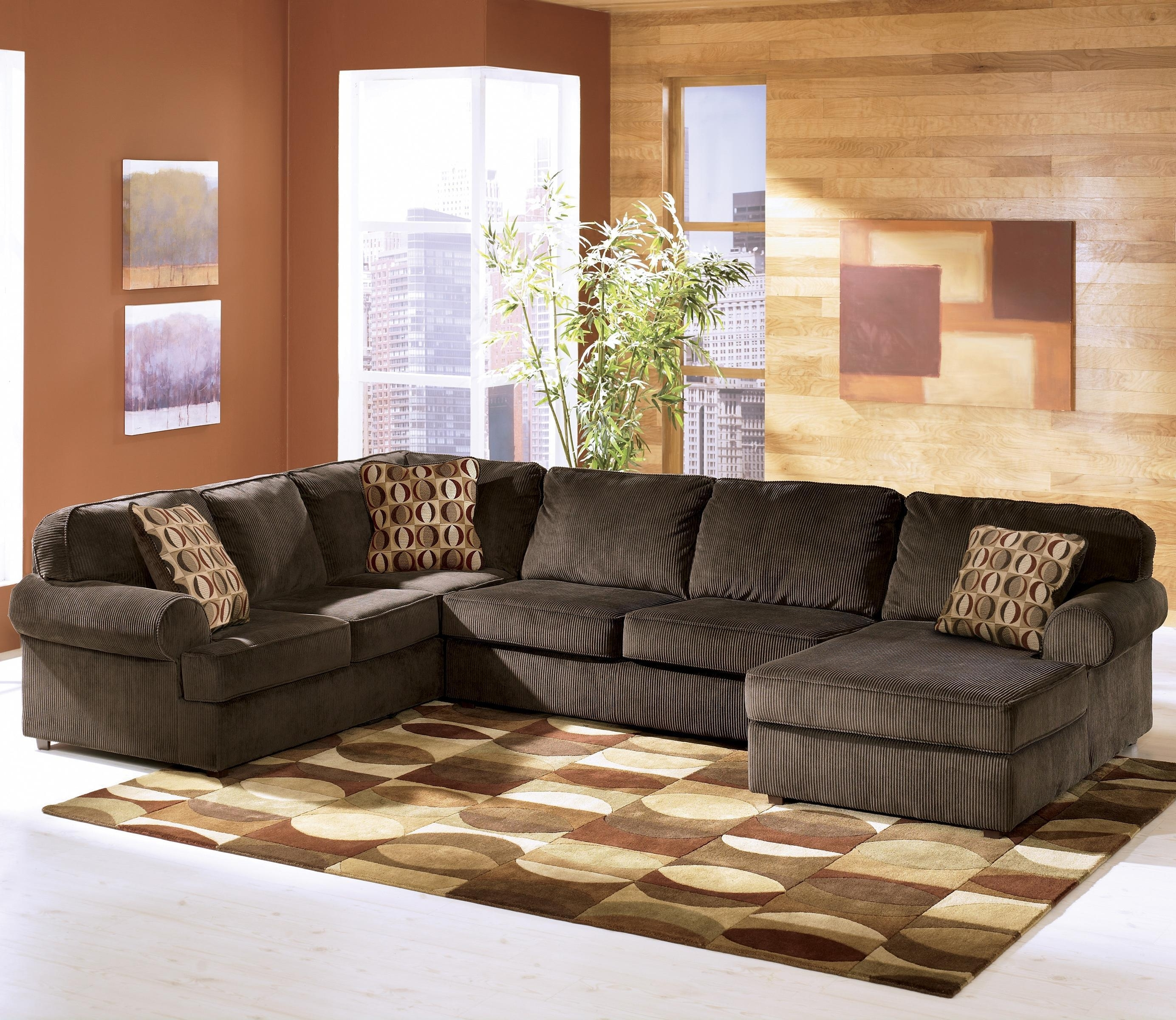 Newest Ashley Furniture Vista – Chocolate Casual 3 Piece Sectional With Inside Evansville In Sectional Sofas (View 14 of 20)