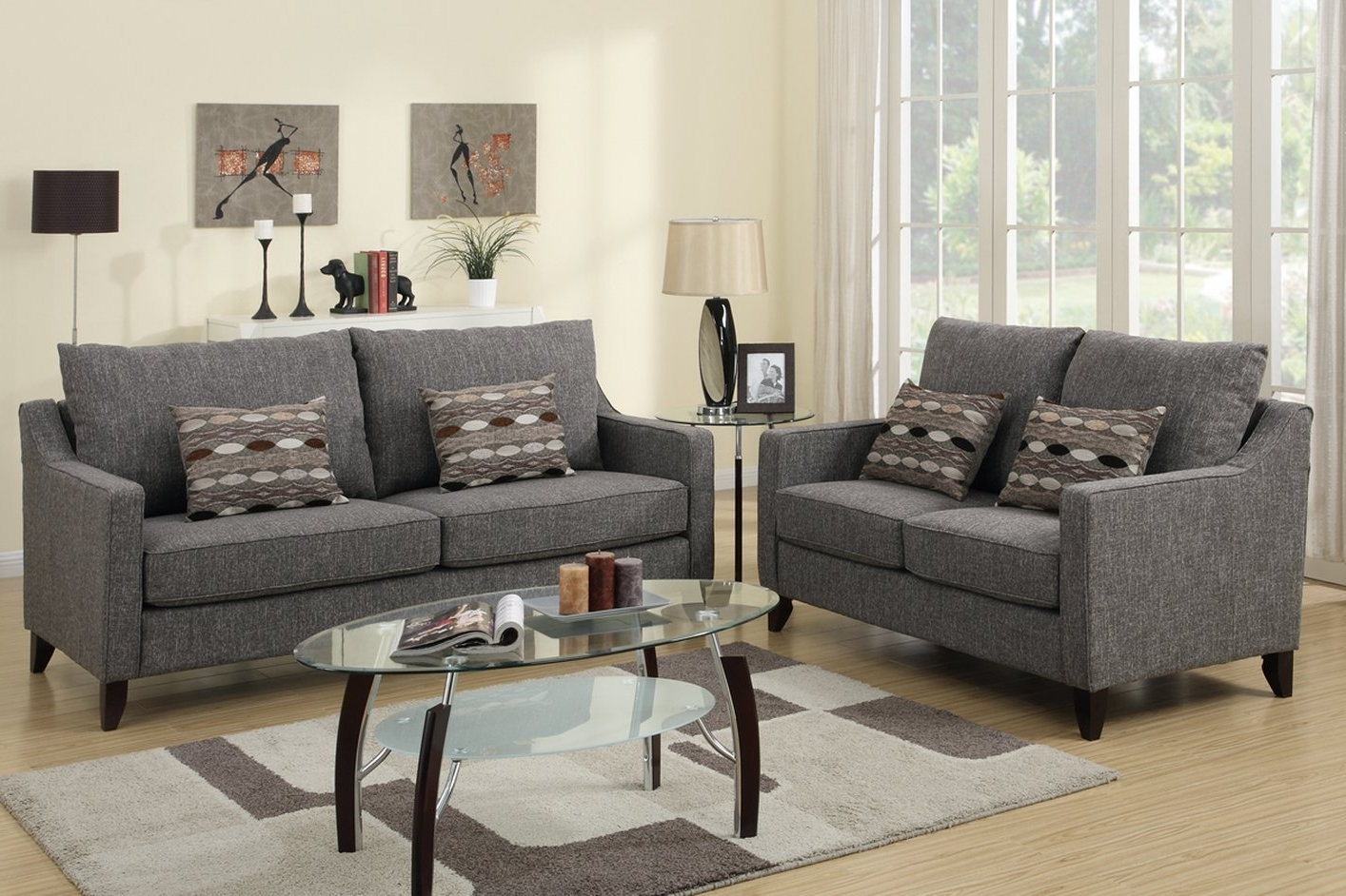 Newest Avery Grey Fabric Sofa And Loveseat Set – Steal A Sofa Furniture For Grey Sofa Chairs (View 8 of 20)