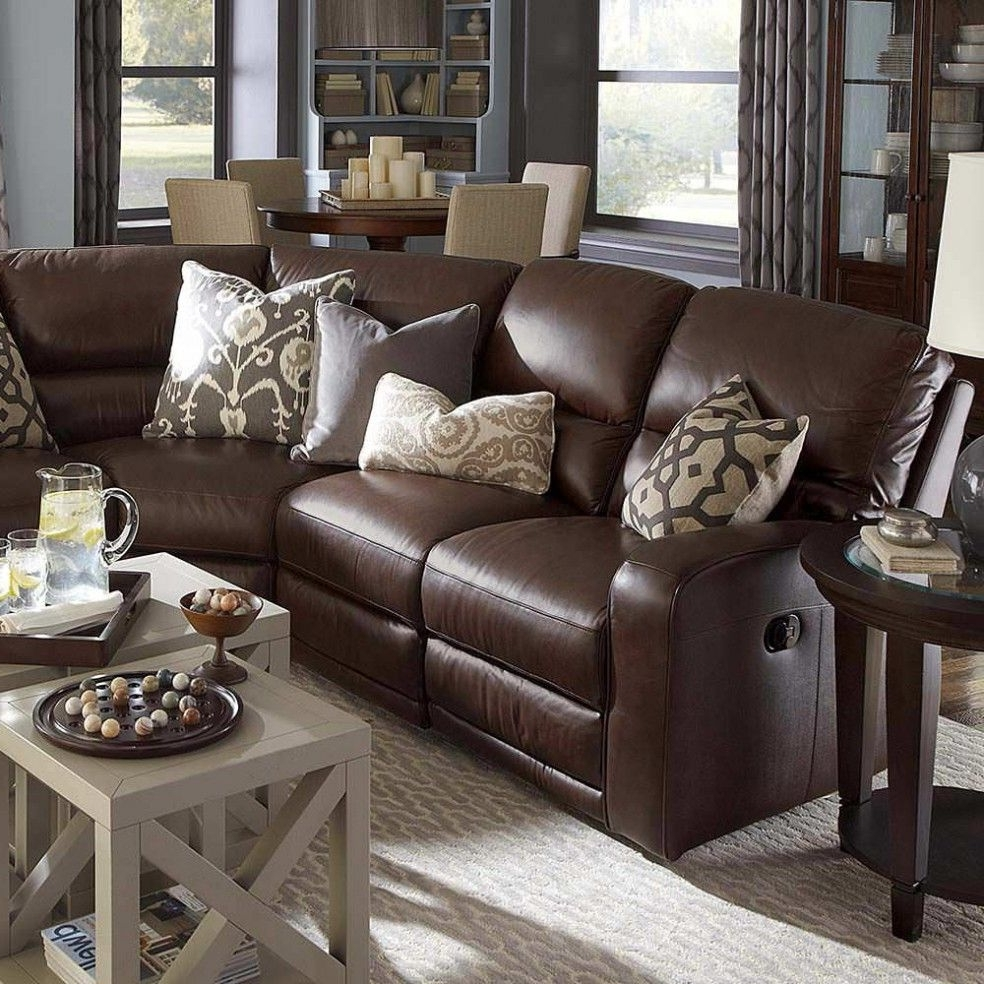 Newest Awesome Reclining Living Room Furniture #4 – Brown Leather Throughout Sectional Sofas Decorating (View 9 of 20)