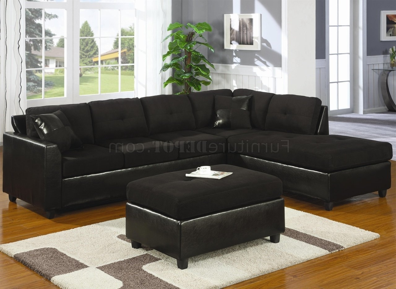 Newest Black Leather Sectionals With Ottoman Pertaining To Microfiber & Faux Leather Contemporary Sectional Sofa 500735 Black (View 16 of 20)