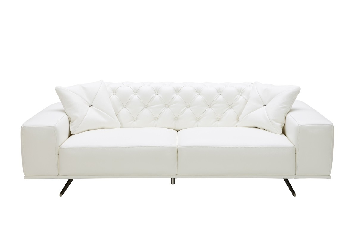 Newest Casa Bartlett Modern White Leather Sofa With Regard To White Leather Sofas (View 5 of 20)