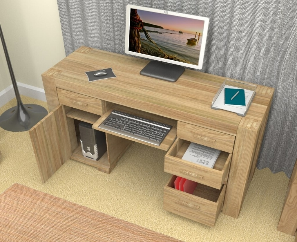 Newest Computer Desks For Home Regarding Furniture: Wooden Computer Desk For Home Office With Some Drawers (View 10 of 20)