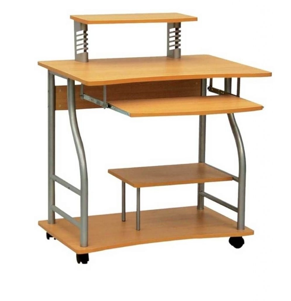 Newest Computer Desks With Wheels Intended For Small Wooden Computer Desks For Small Spaces – Amys Office (View 11 of 20)