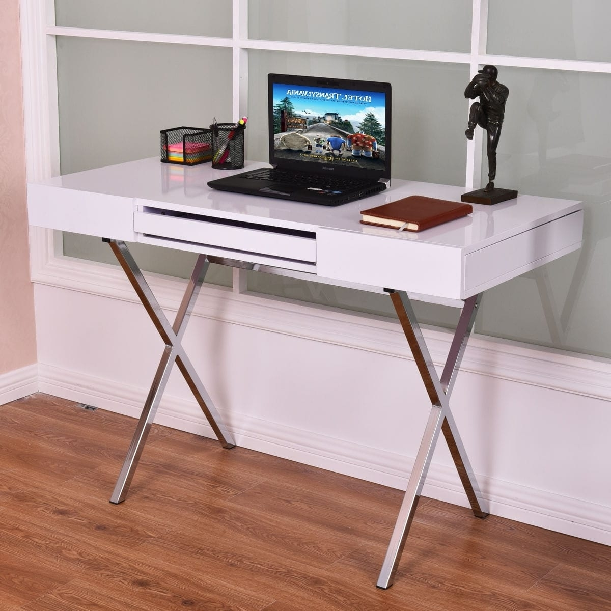 Newest Costway Computer Desk Pc Laptop Table Workstation Metal Frame Wood Throughout Japanese Computer Desks (View 10 of 20)
