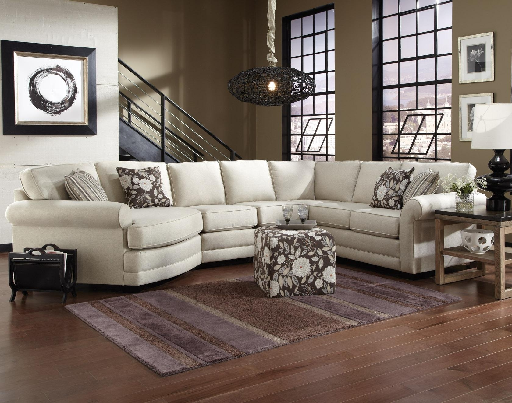 Newest Cuddler Sectional Sofas Within England Brantley 5 Seat Sectional Sofa With Cuddler (View 16 of 20)