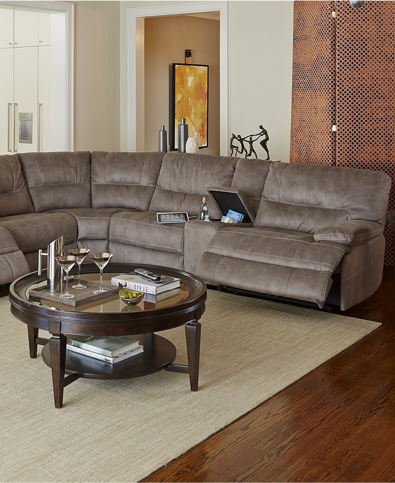 Newest Elliot Fabric Microfiber Sectional Sofa 3 Piece Microfiber Intended For Macys Leather Sectional Sofas (View 13 of 20)