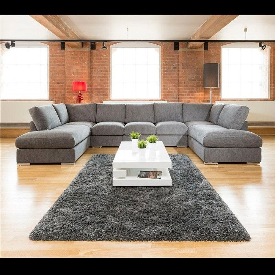 Newest Extra Large New Sofa Set Settee Corner Group U Shape Grey  (View 9 of 20)