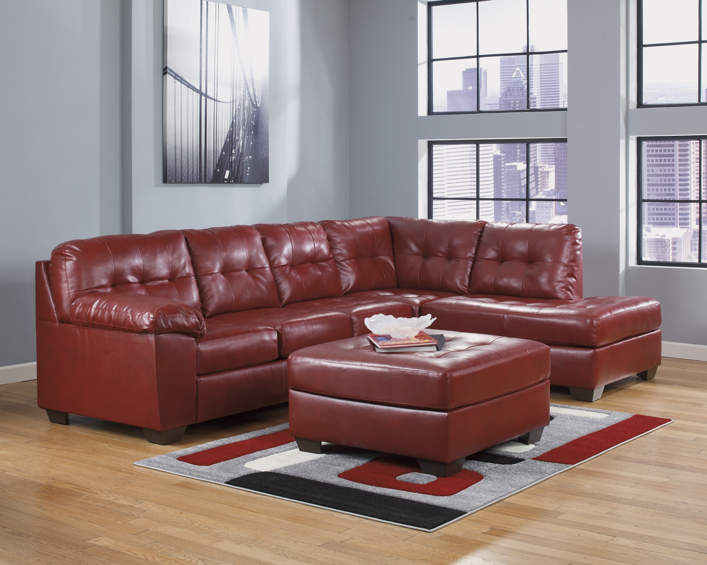 Newest Furniture: Ashley Furniture Sectional Sofas For Elegant Interior In Red Leather Sectional Sofas With Ottoman (View 12 of 20)