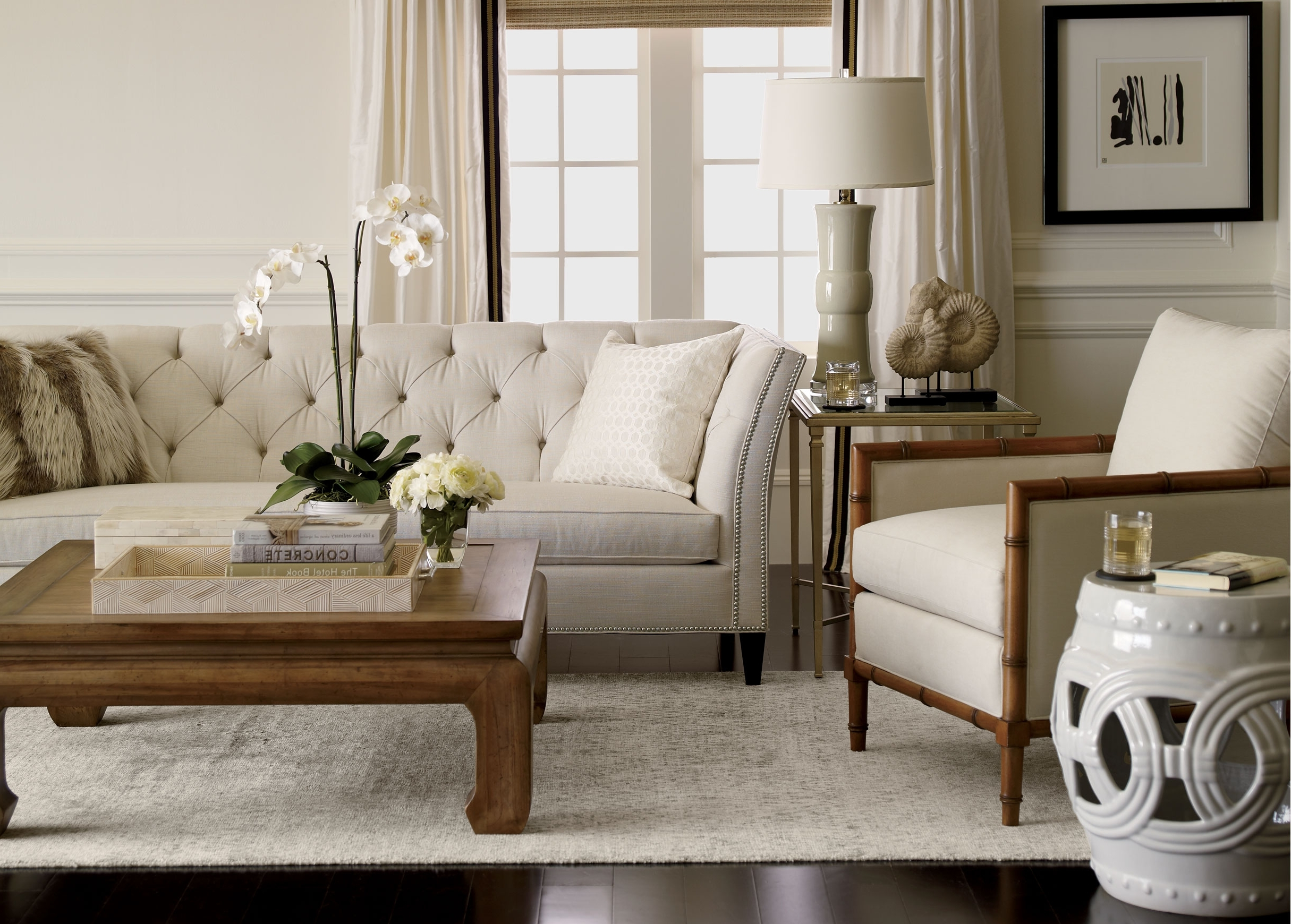 Newest Furniture: Beautiful Tufted Modern White Ethan Allen Sectional For Ethan Allen Sofas And Chairs (View 4 of 20)