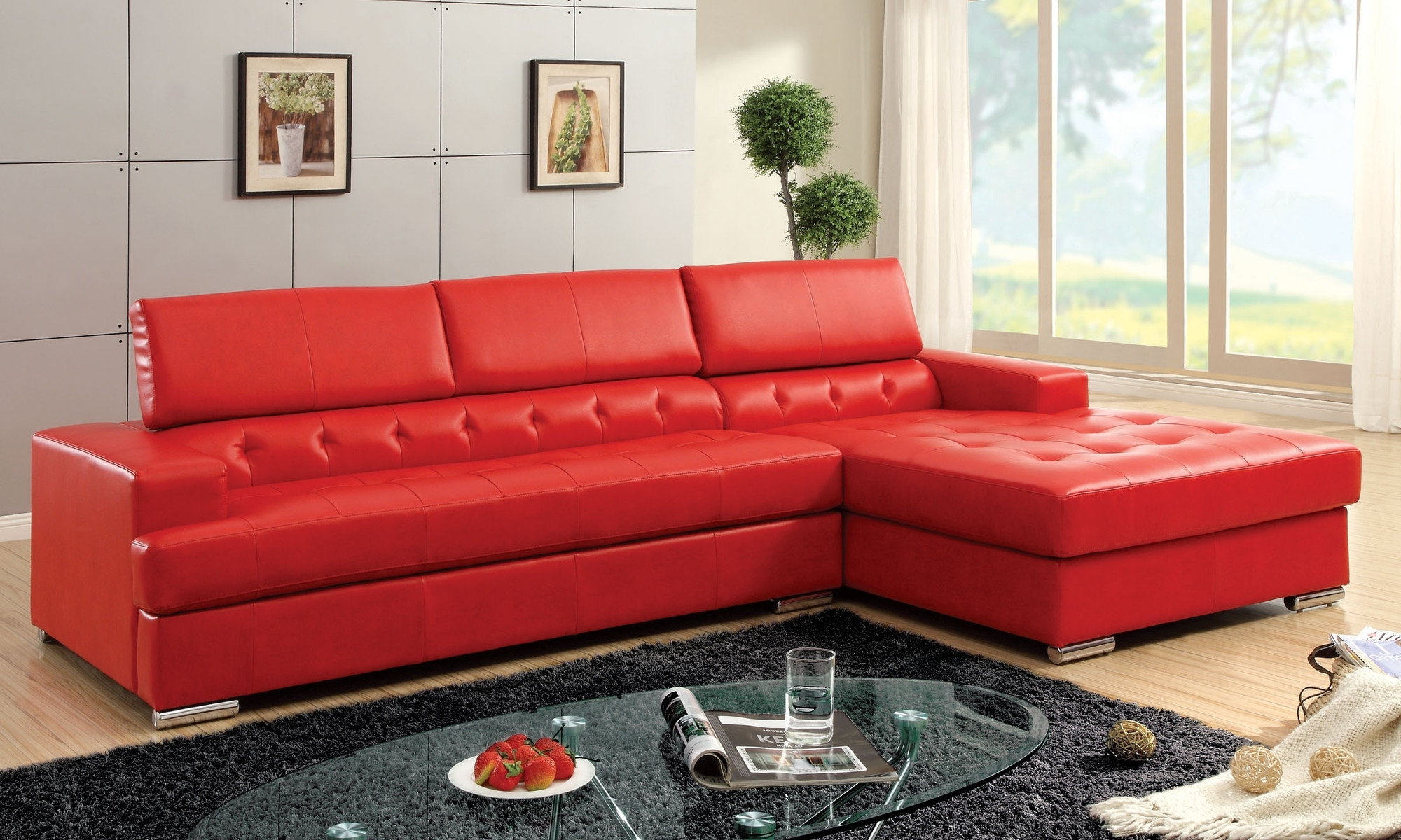 Newest Glamorous Genuine Leather Chesterfield Sofa As Well As Modern Within Red Leather Sectionals With Chaise (View 7 of 20)