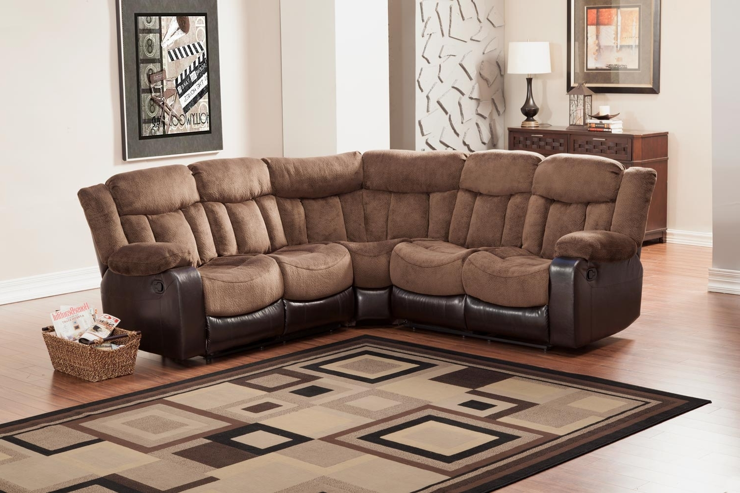 Newest Homelegance Vera Reclining Sectional Sofa – Chocolate – Textured With Regard To Sectional Sofas At Edmonton (View 10 of 20)