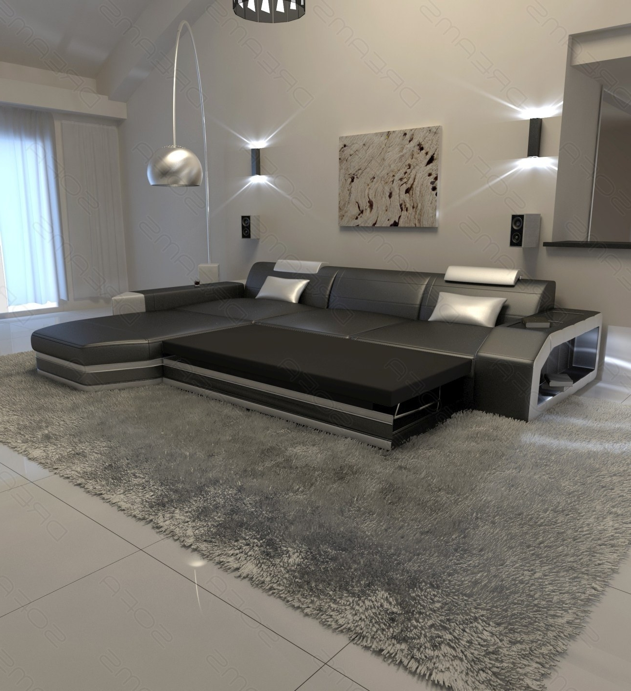 Newest L Shaped Sofas Pertaining To Modern L Shaped Sofa Dallas With Led Lights (View 15 of 20)