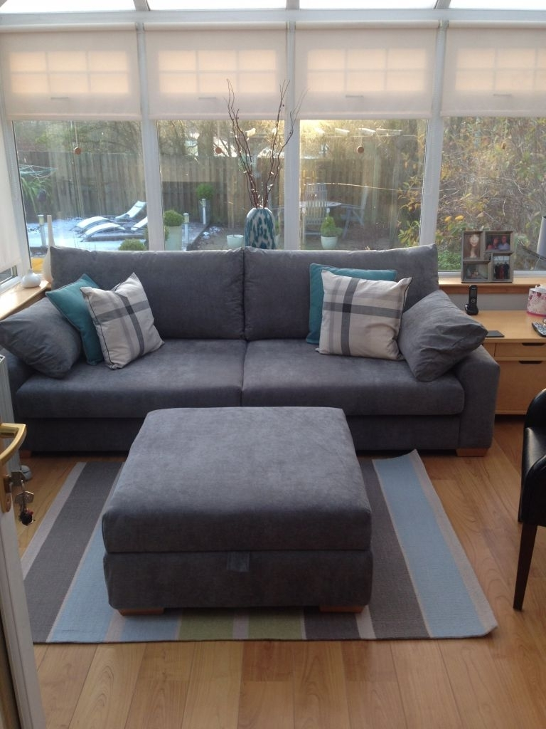 Newest Large 4 Seater Sofas Pertaining To Grey – Large 4 Seater Sofa & Footstool (View 14 of 20)