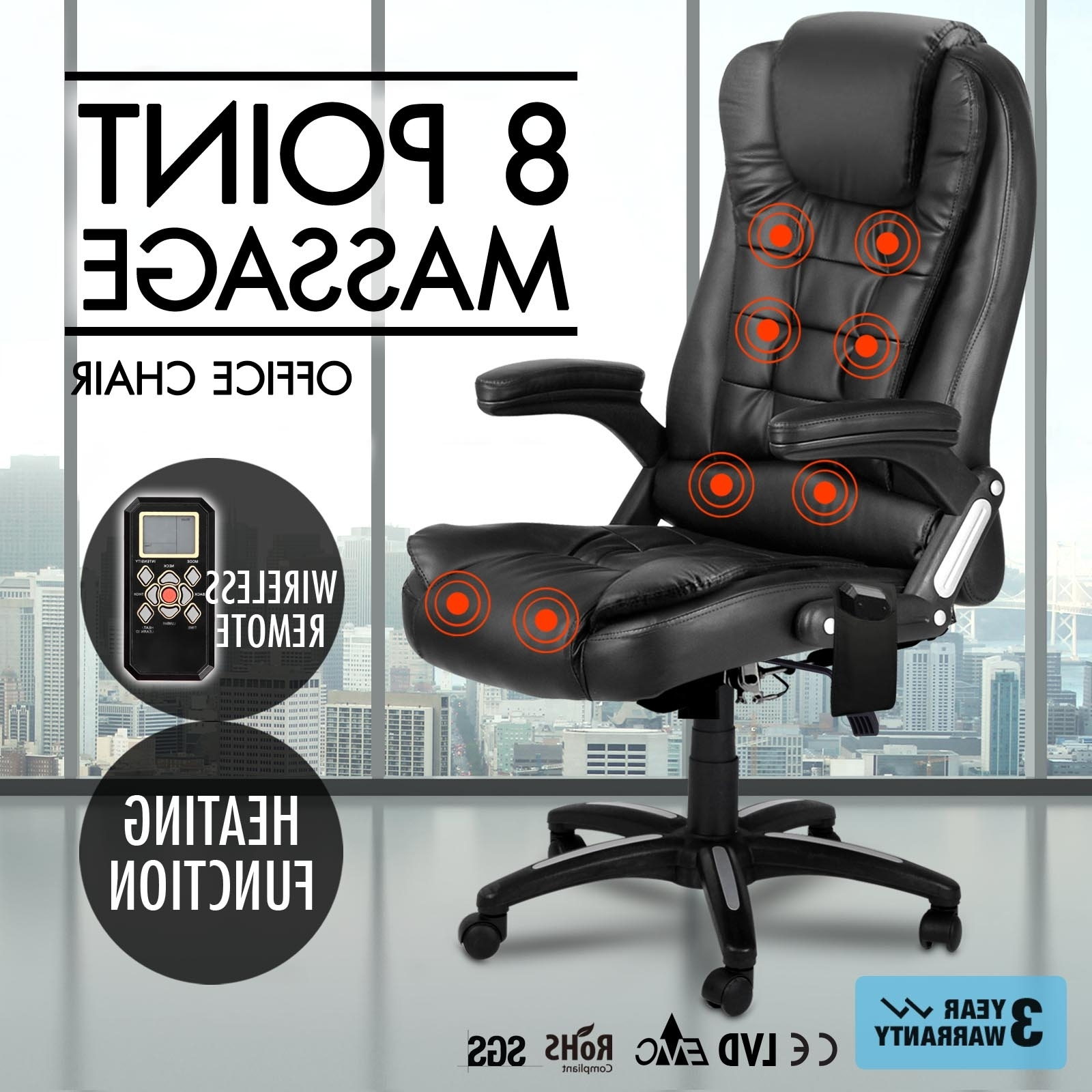 Newest Leather Executive Office Massage Chairs Throughout Massage Chair: Massaging Desk Chair With Heat Massaging Computer (View 11 of 20)