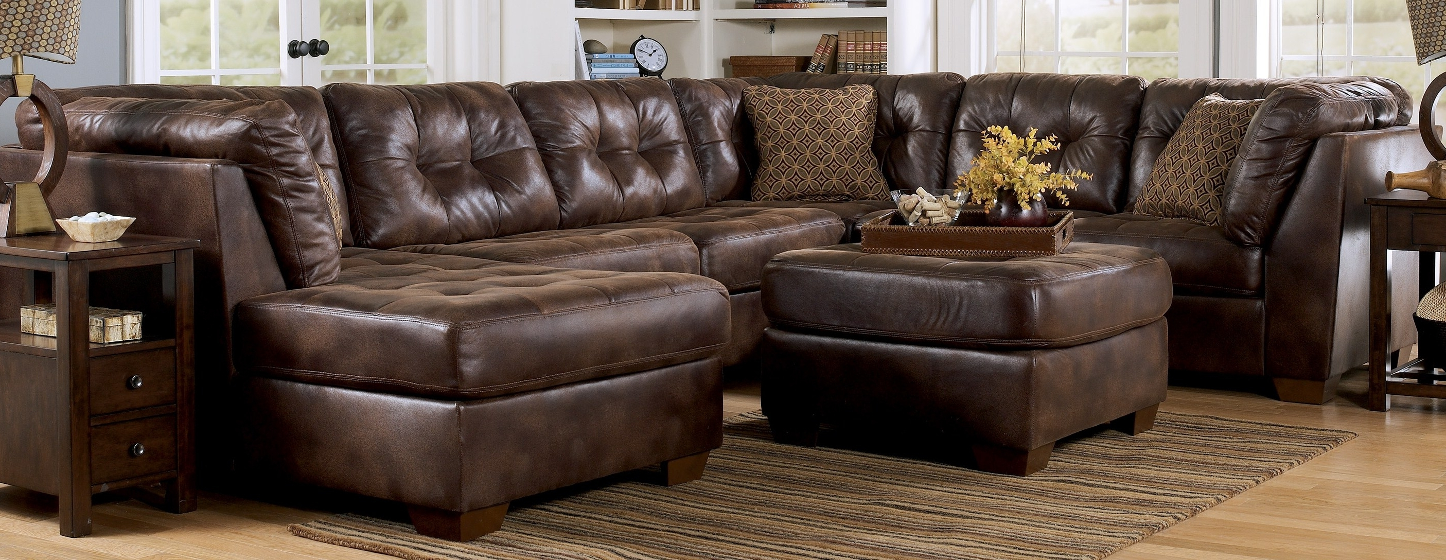 Newest Leather Sectionals With Chaise And Ottoman For Big Lots Recliners Ashley Furniture Sectional Sofas Cheap (View 17 of 20)