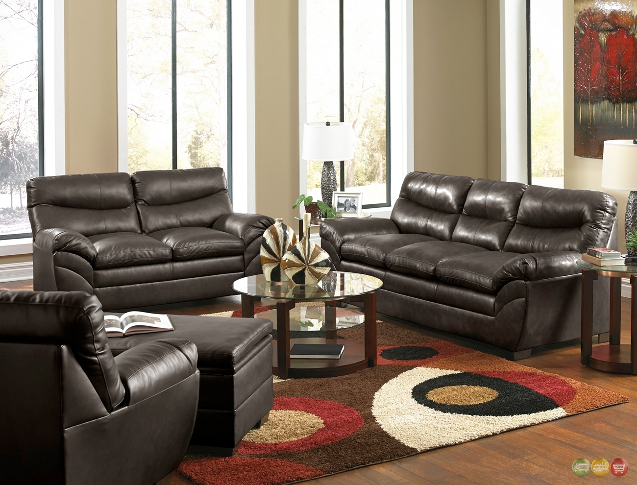 Newest Living Room : Casual Contemporary Brown Bonded Leather Sofa Set Pertaining To Casual Sofas And Chairs (View 13 of 20)