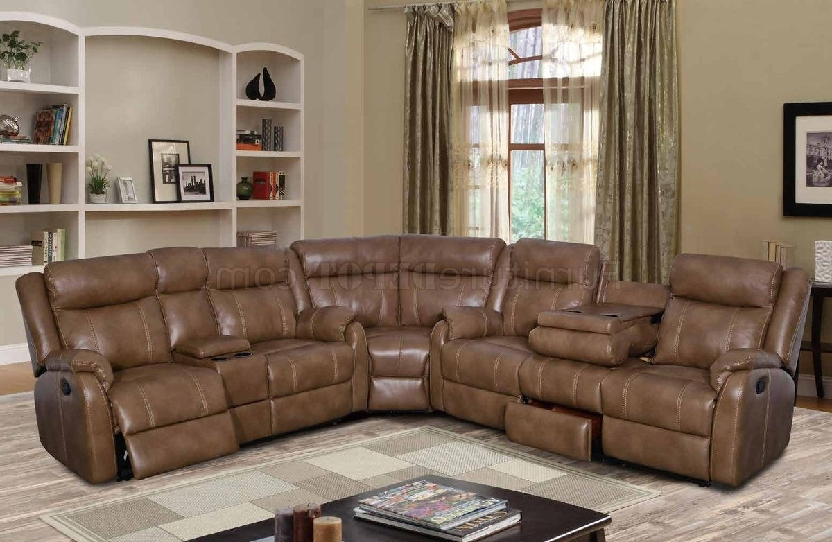 Newest Motion Sectional Sofas Pertaining To U7303C Motion Sectional Sofa In Walnut Leather Gelglobal (View 17 of 20)